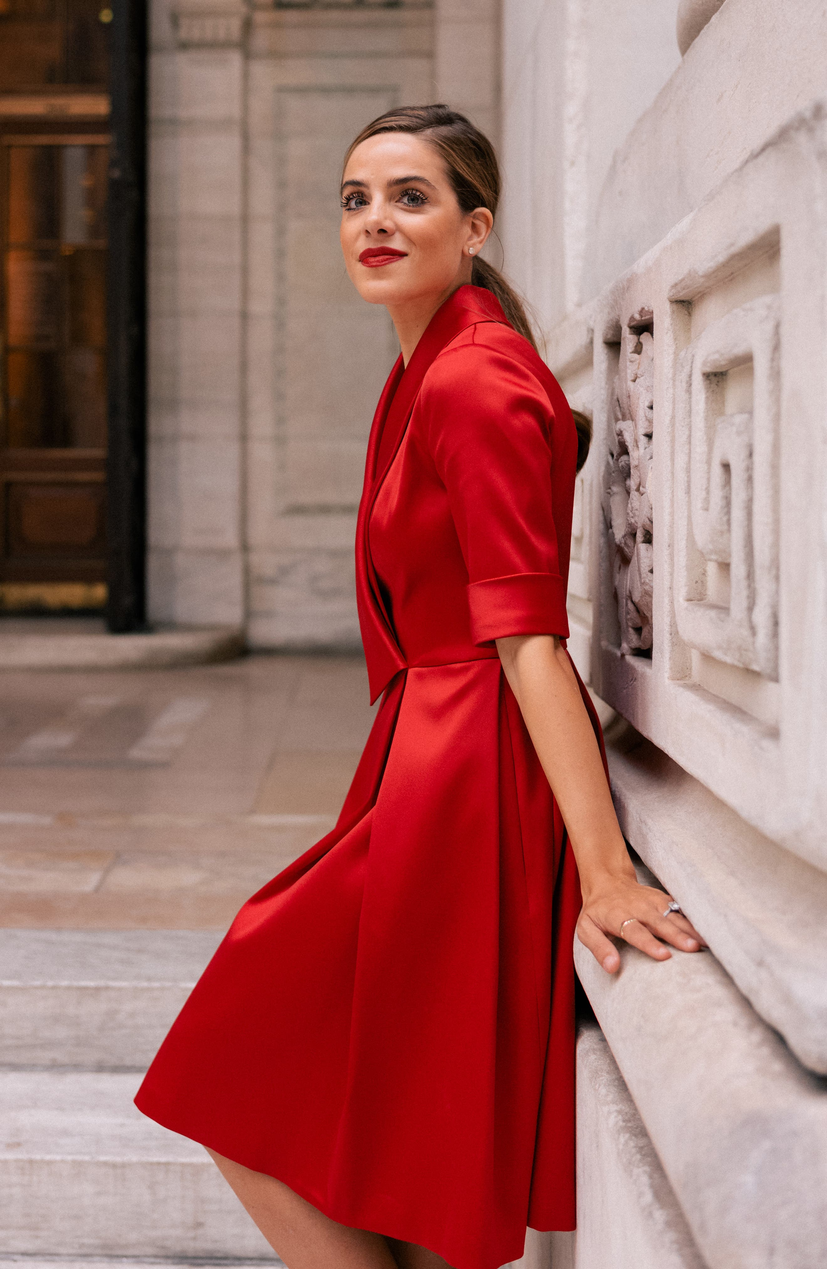 GAL MEETS GLAM COLLECTION,                             Ruby Royal Satin Asymmetrical Collar Dress,                             Alternate thumbnail 9, color,                             RUBY