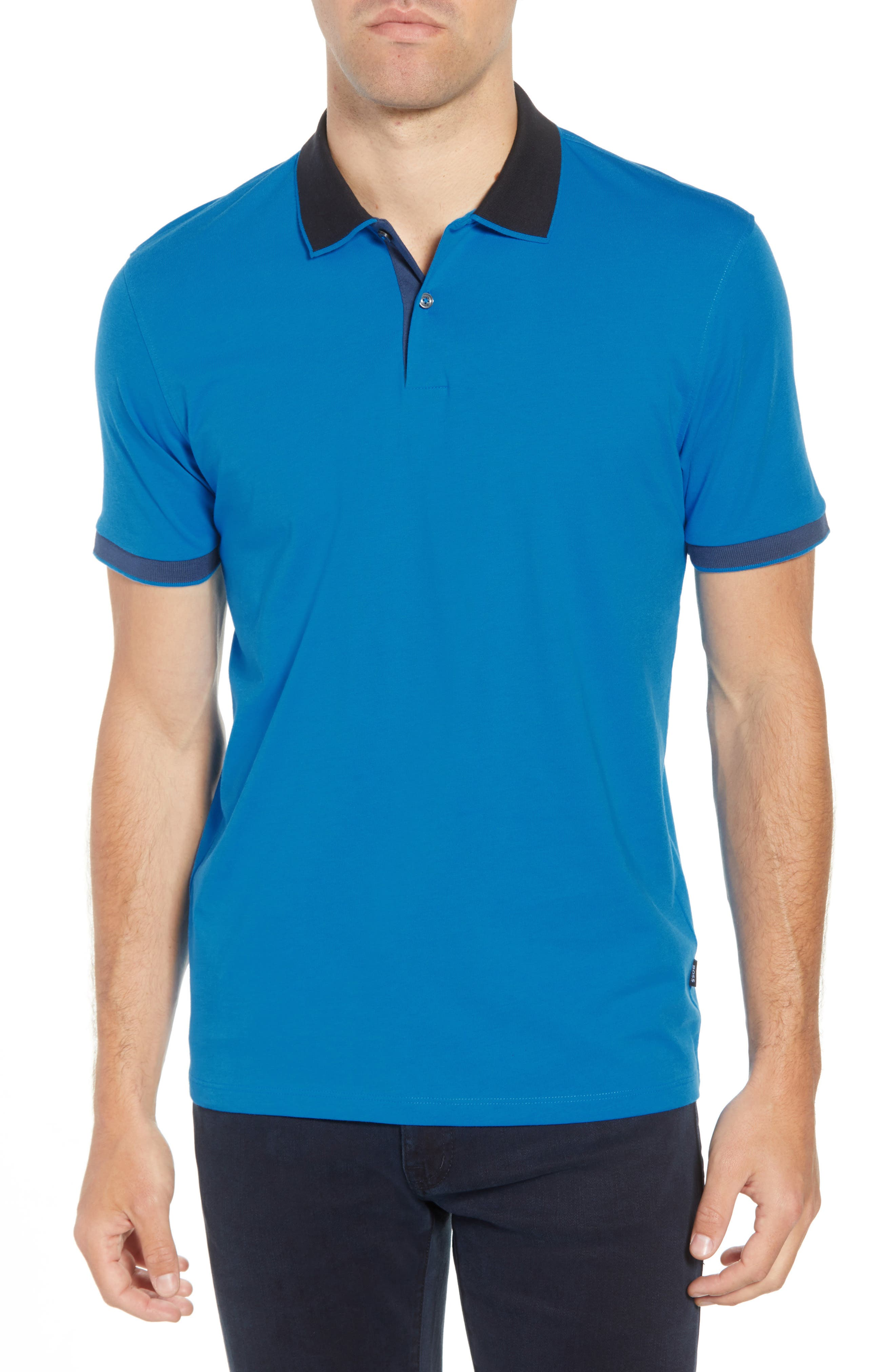 Parlay Regular Fit Contrast Polo,                         Main,                         color, BLUE
