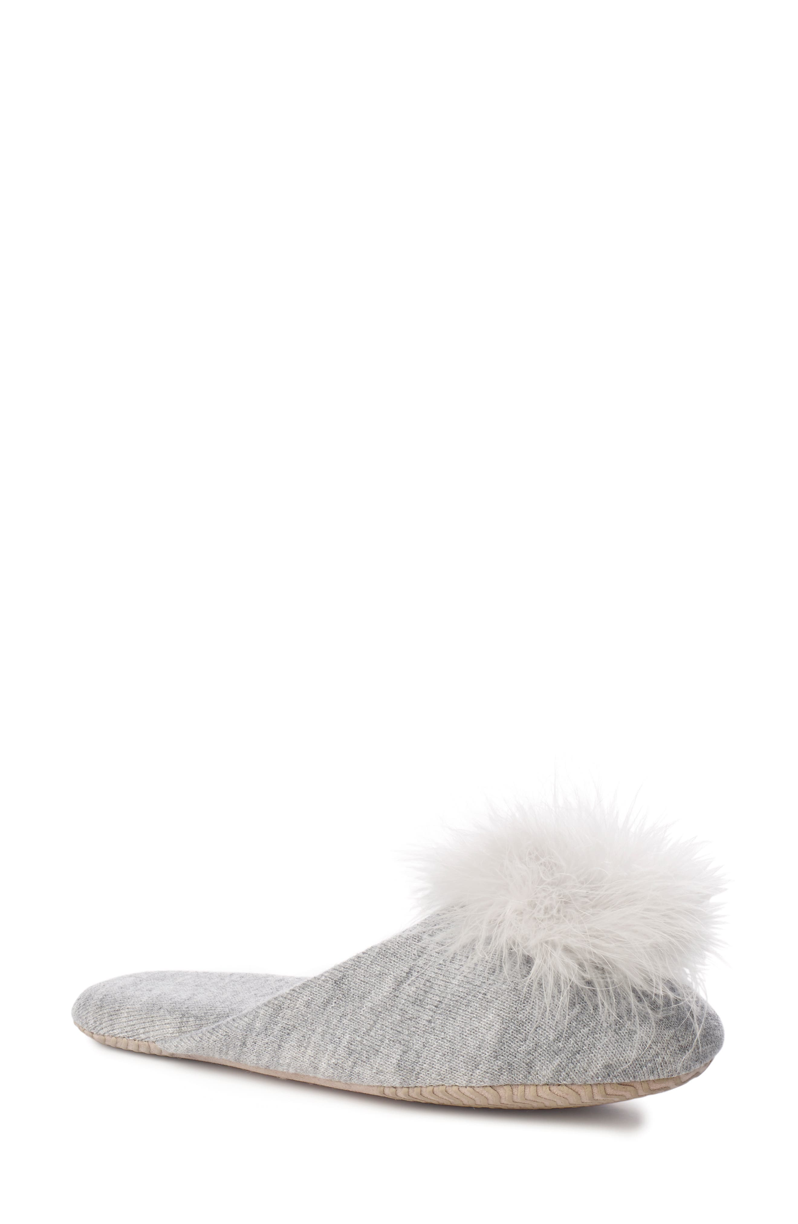 Feather Pompom Mule Slipper,                             Main thumbnail 1, color,                             PALE GREY HEATHER