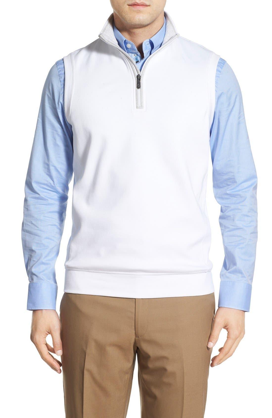 Leaderboard Quarter Zip Pima Cotton Vest,                         Main,                         color, WHITE