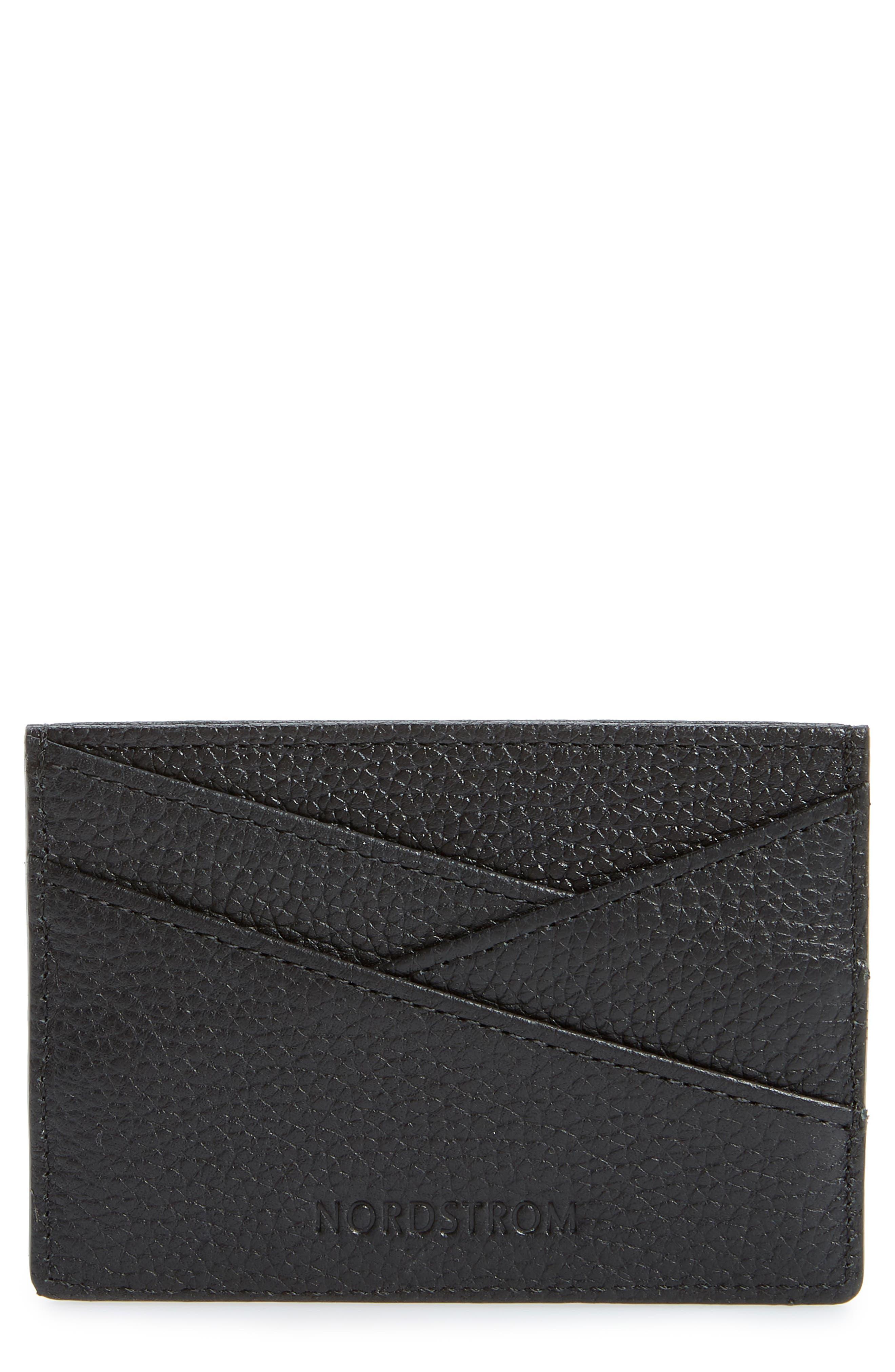Alicia Leather Card Holder,                             Main thumbnail 1, color,                             BLACK