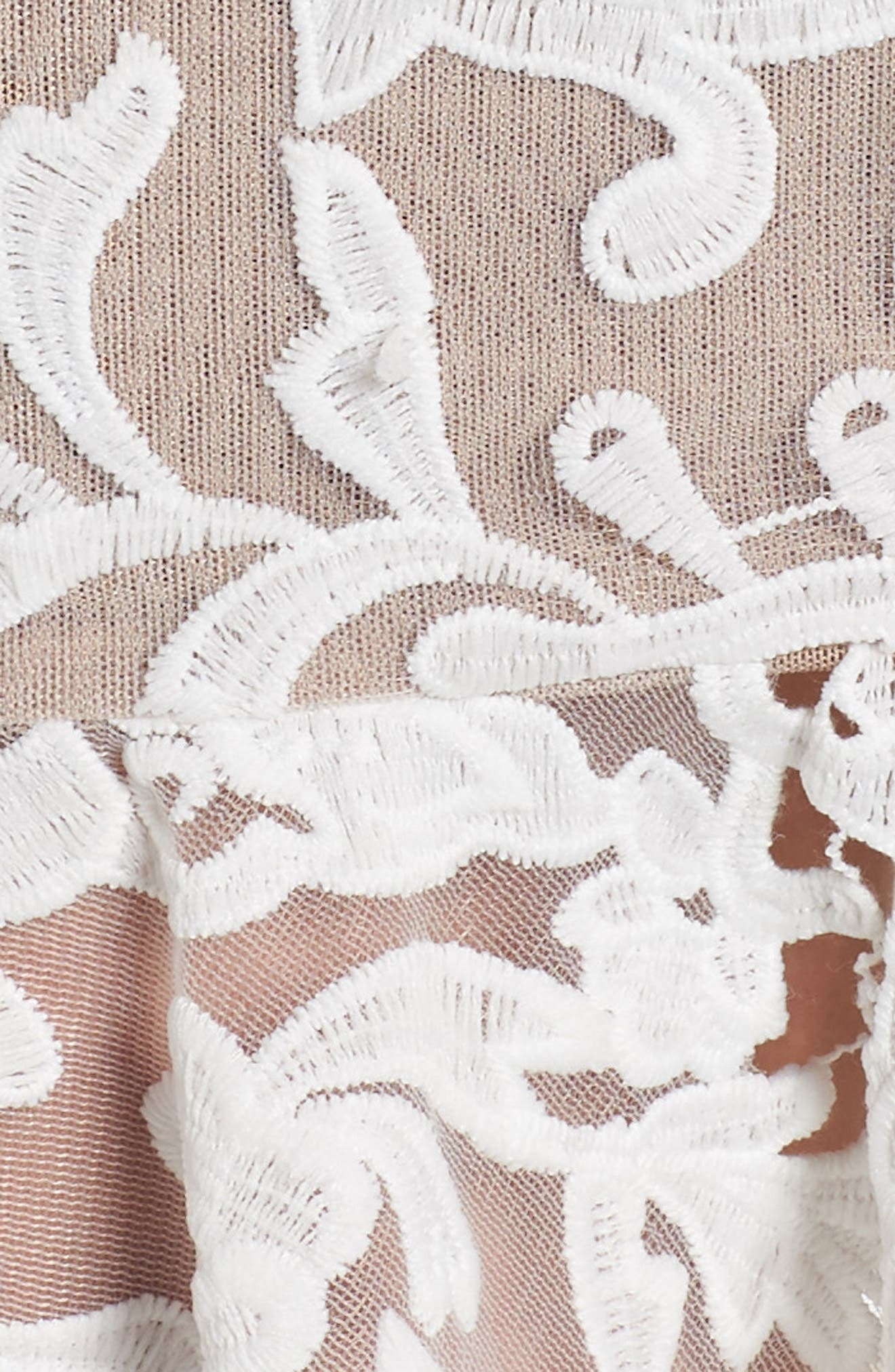 Rocha Waterfall Ruffle Lace Midi Dress,                             Alternate thumbnail 5, color,                             900