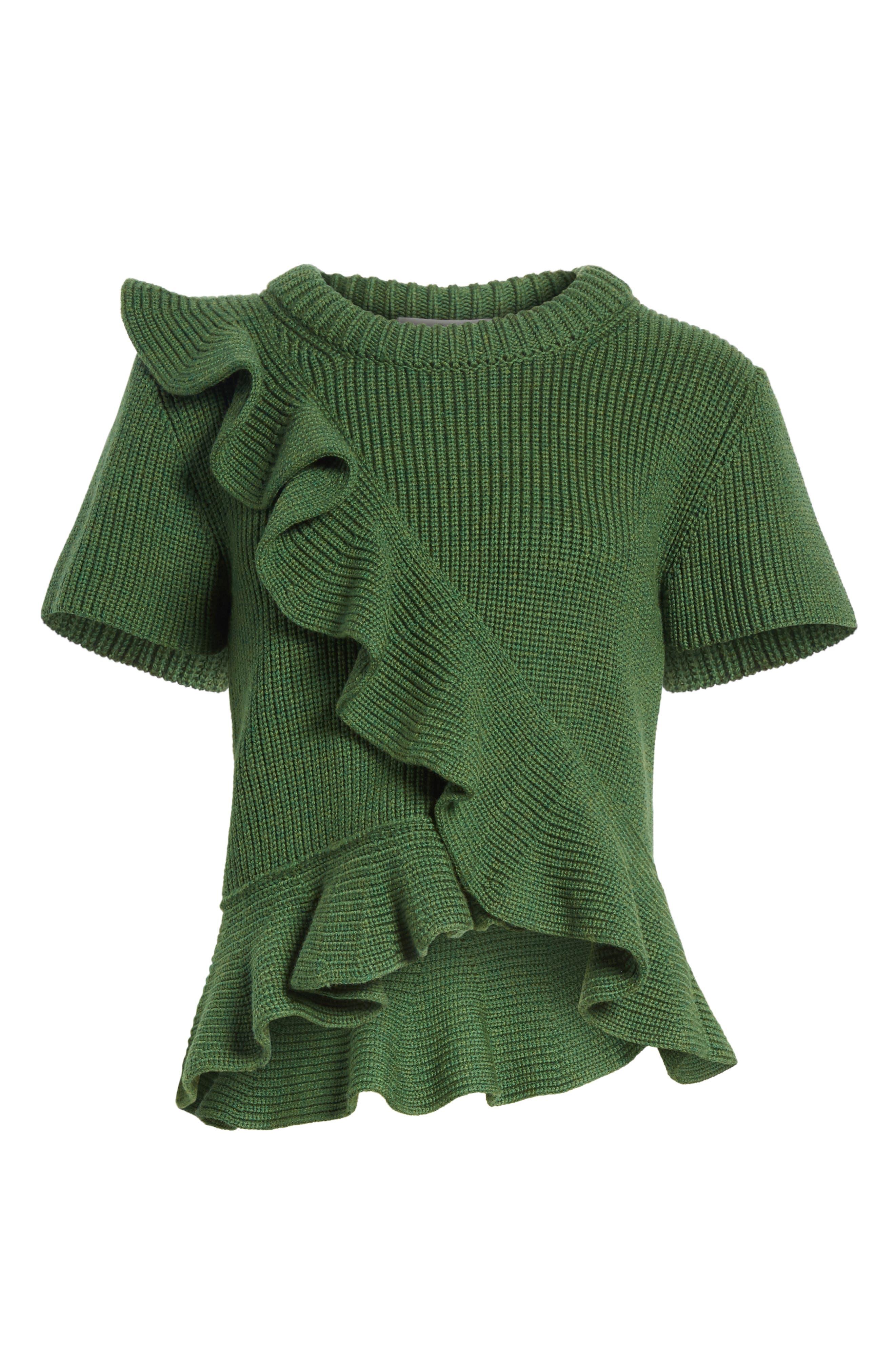 Ruffle Wool Sweater,                             Alternate thumbnail 6, color,                             300