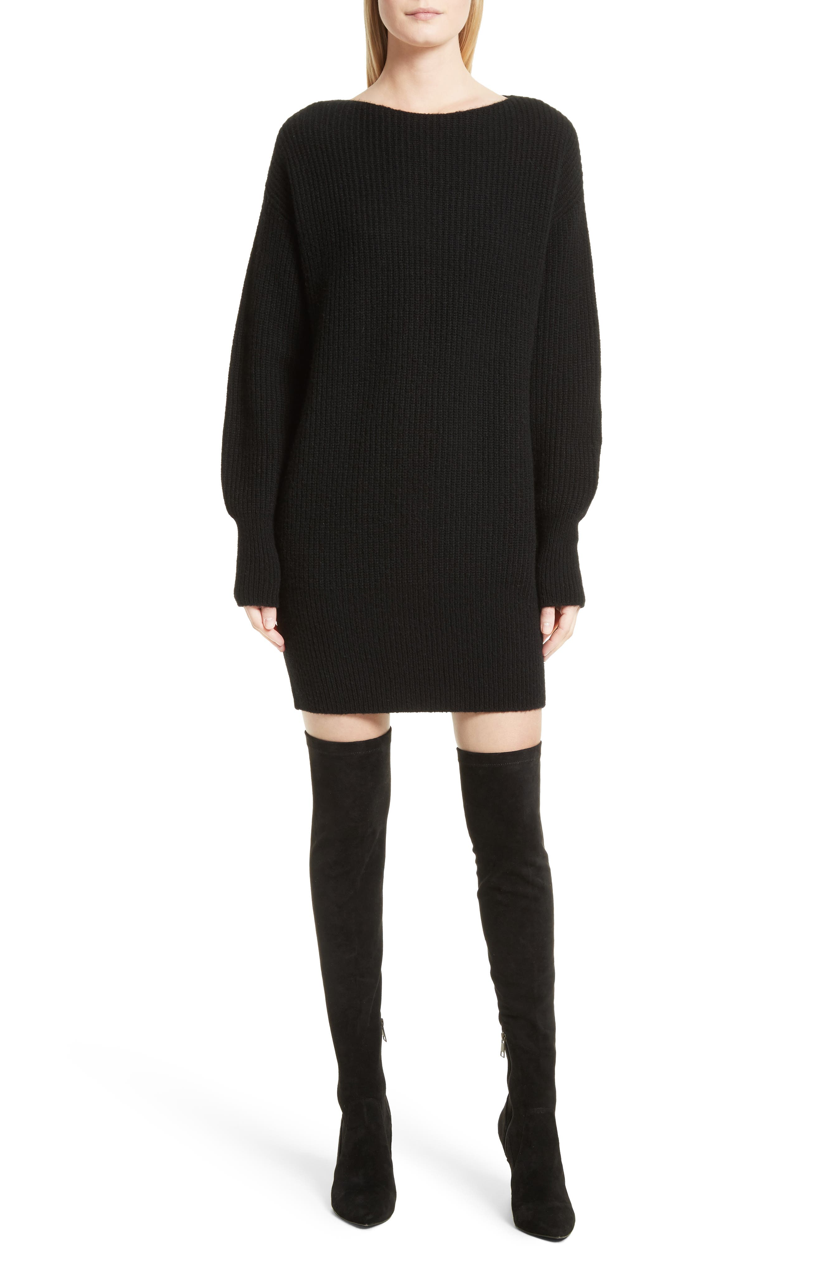Nimbus Wool Ribbed Cocoon Dress,                         Main,                         color, 001