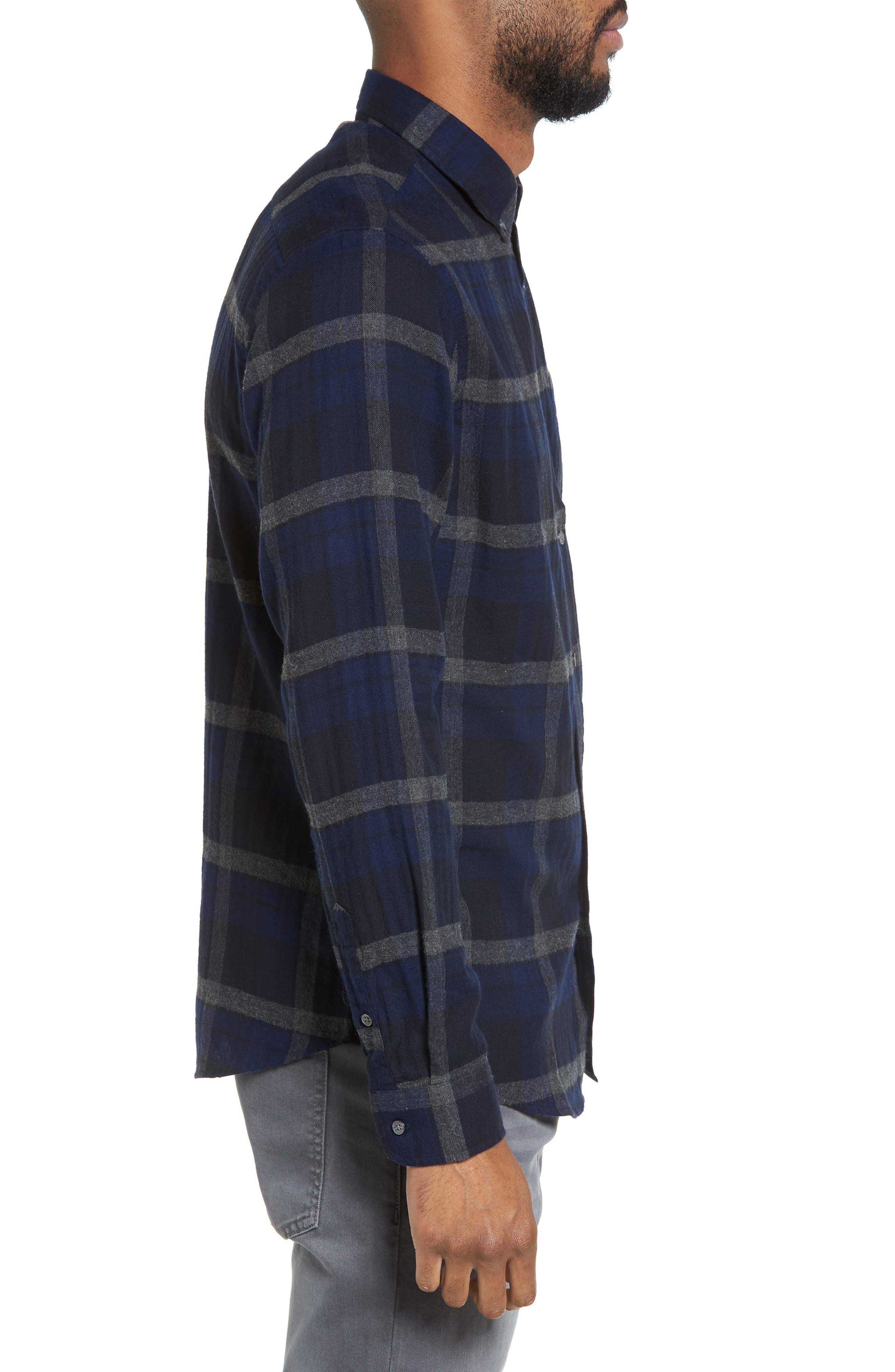 Trim Fit Plaid Flannel Sport Shirt,                             Alternate thumbnail 3, color,                             473