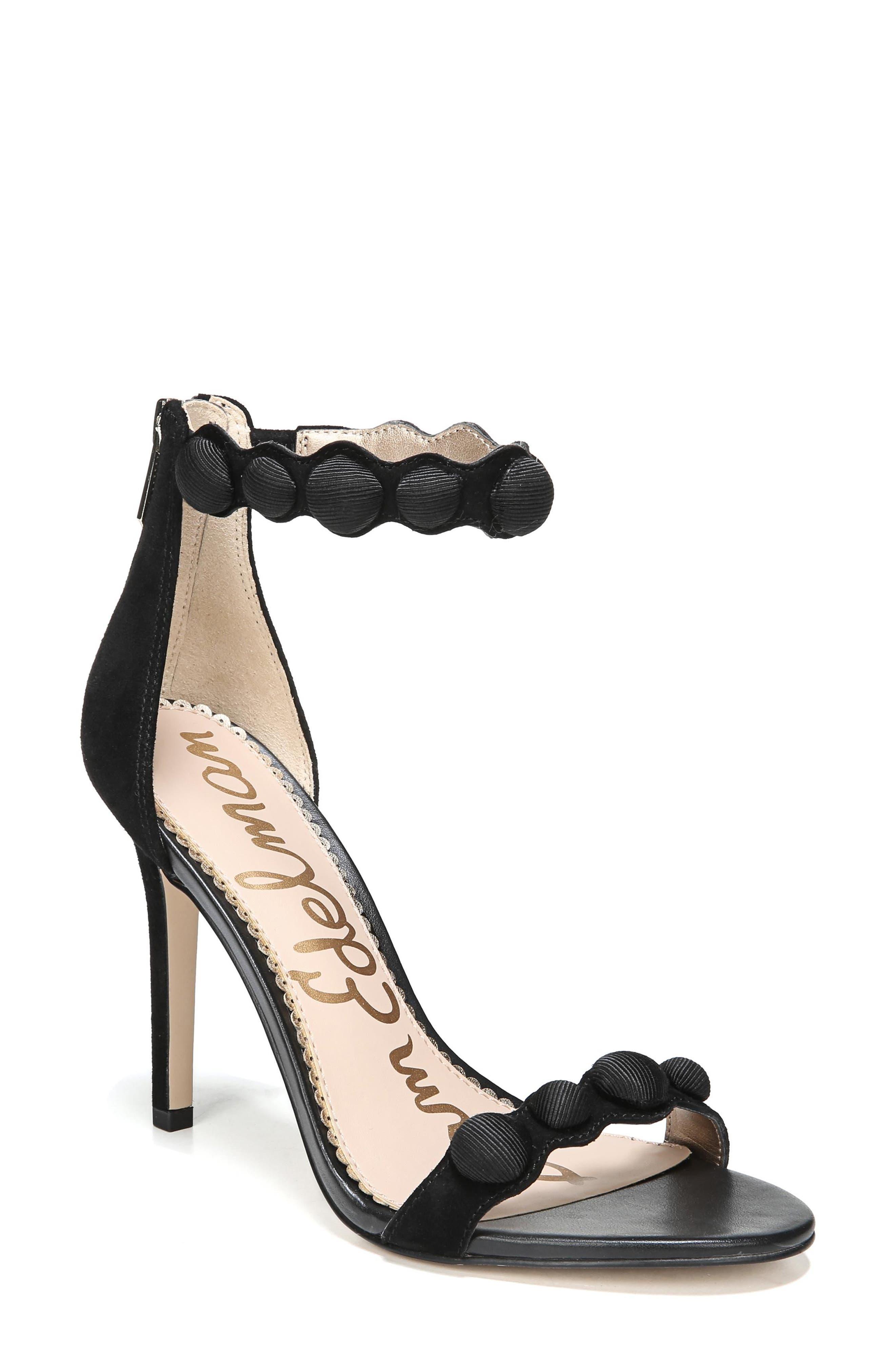 Sam Edelmen Addison Embellished Ankle Strap Sandal,                         Main,                         color, 001