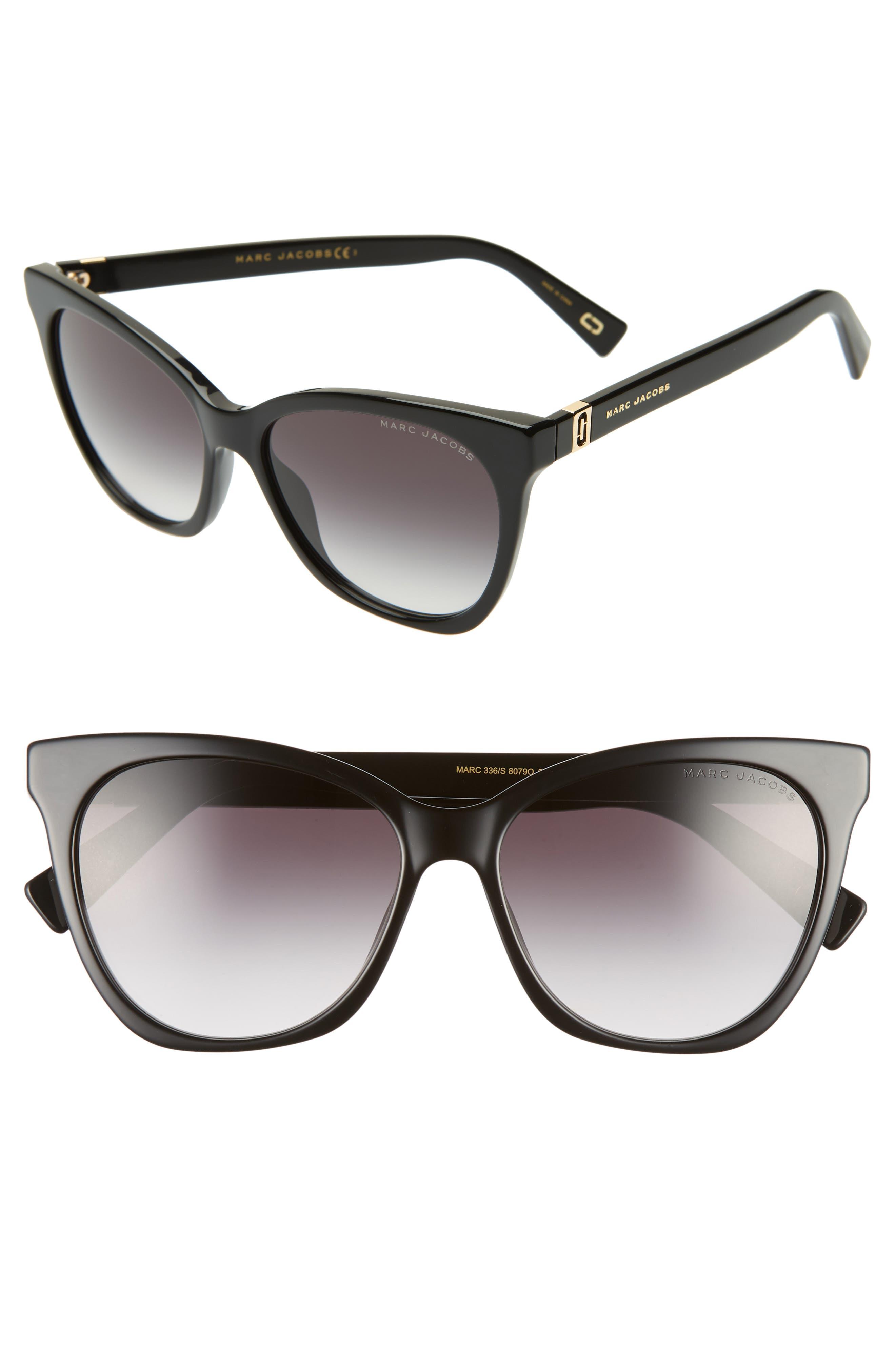 56mm Cat Eye Sunglasses,                             Main thumbnail 1, color,                             BLACK