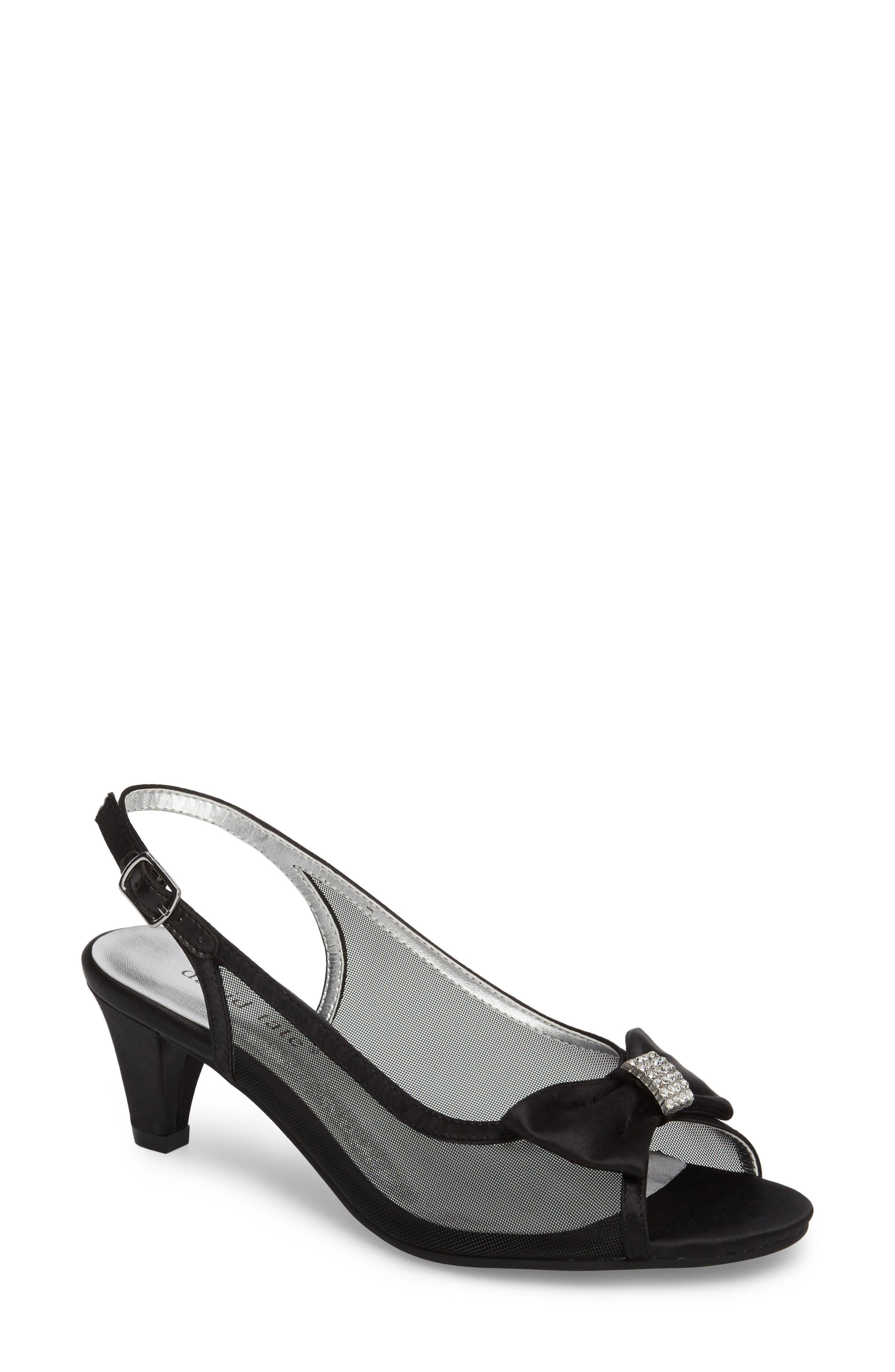 Foxy Slingback Sandal,                         Main,                         color, BLACK SATIN