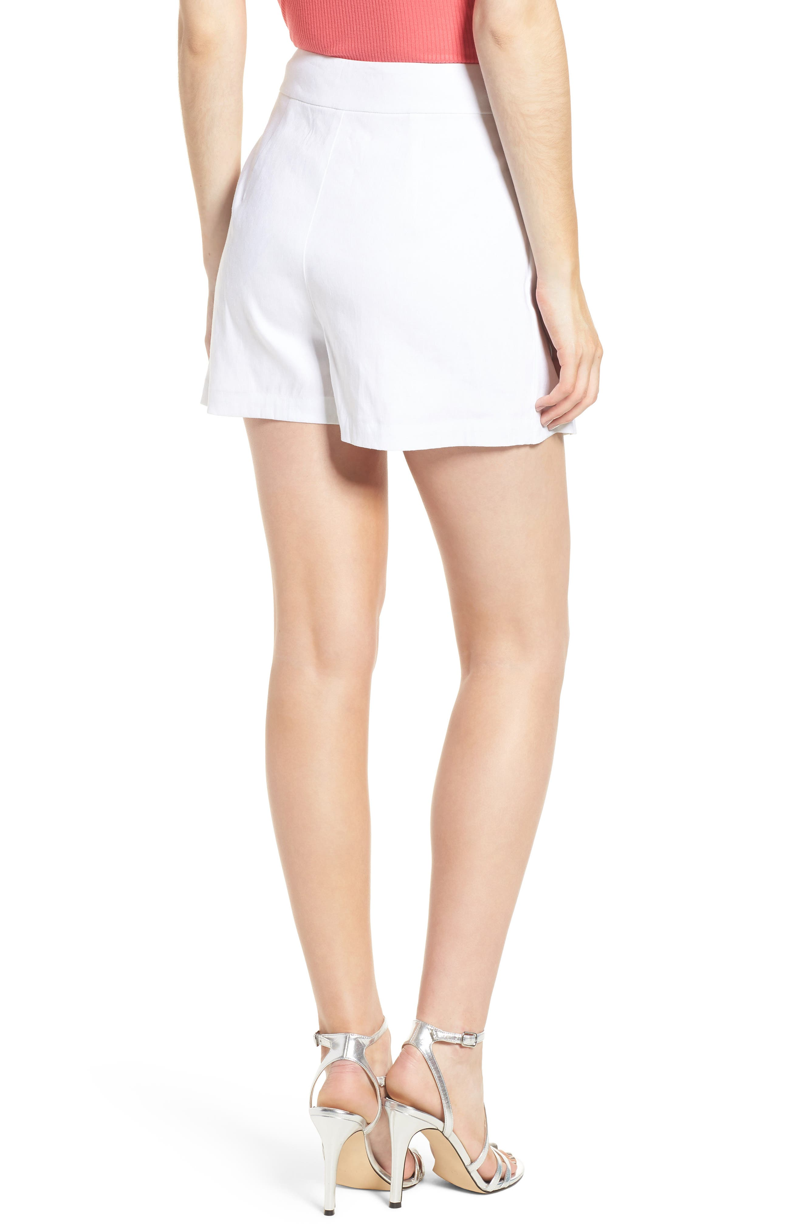 Lace-Up Linen Blend Skort,                             Alternate thumbnail 2, color,                             100