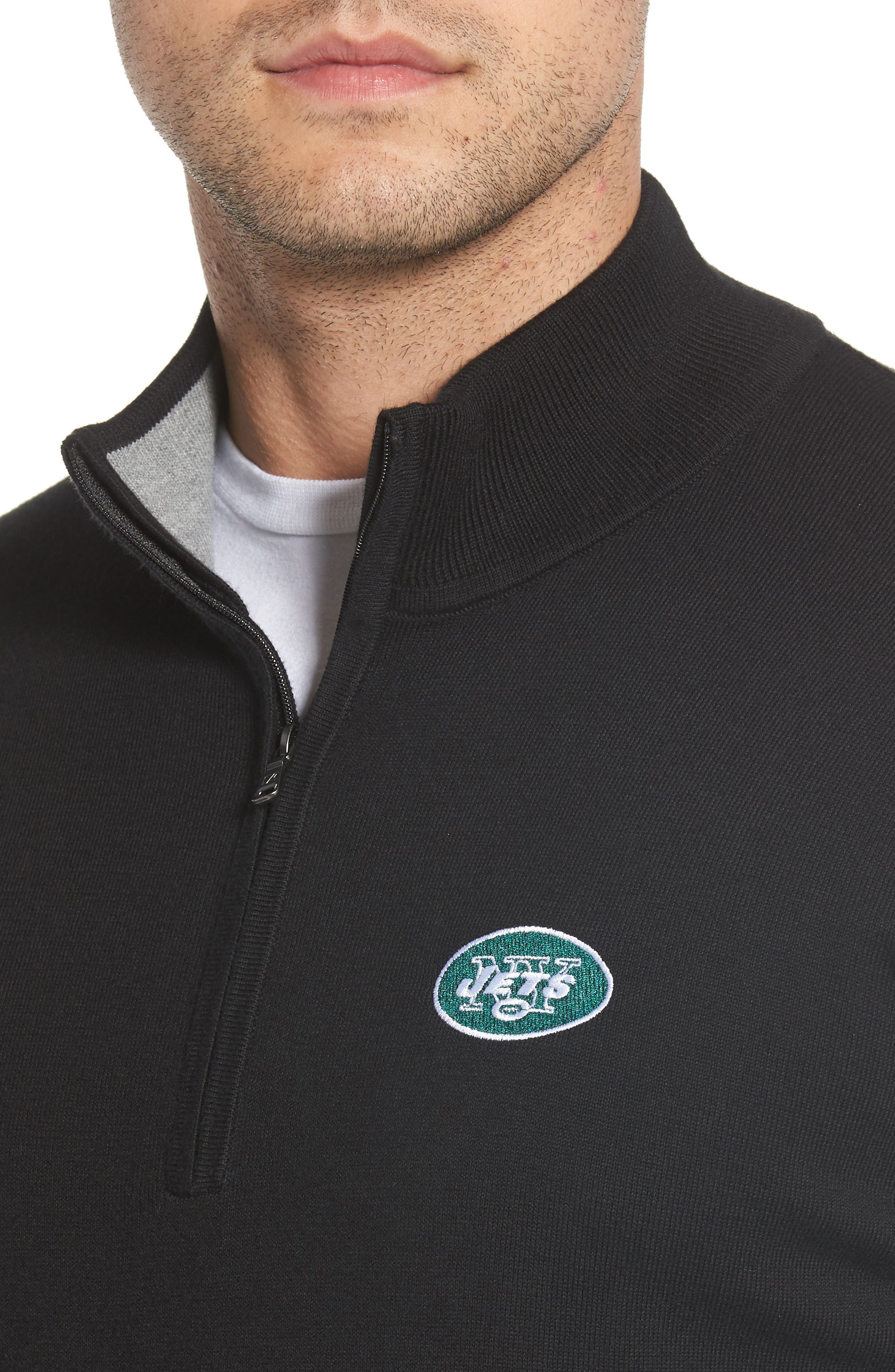 New York Jets - Lakemont Regular Fit Quarter Zip Sweater,                             Alternate thumbnail 4, color,                             BLACK