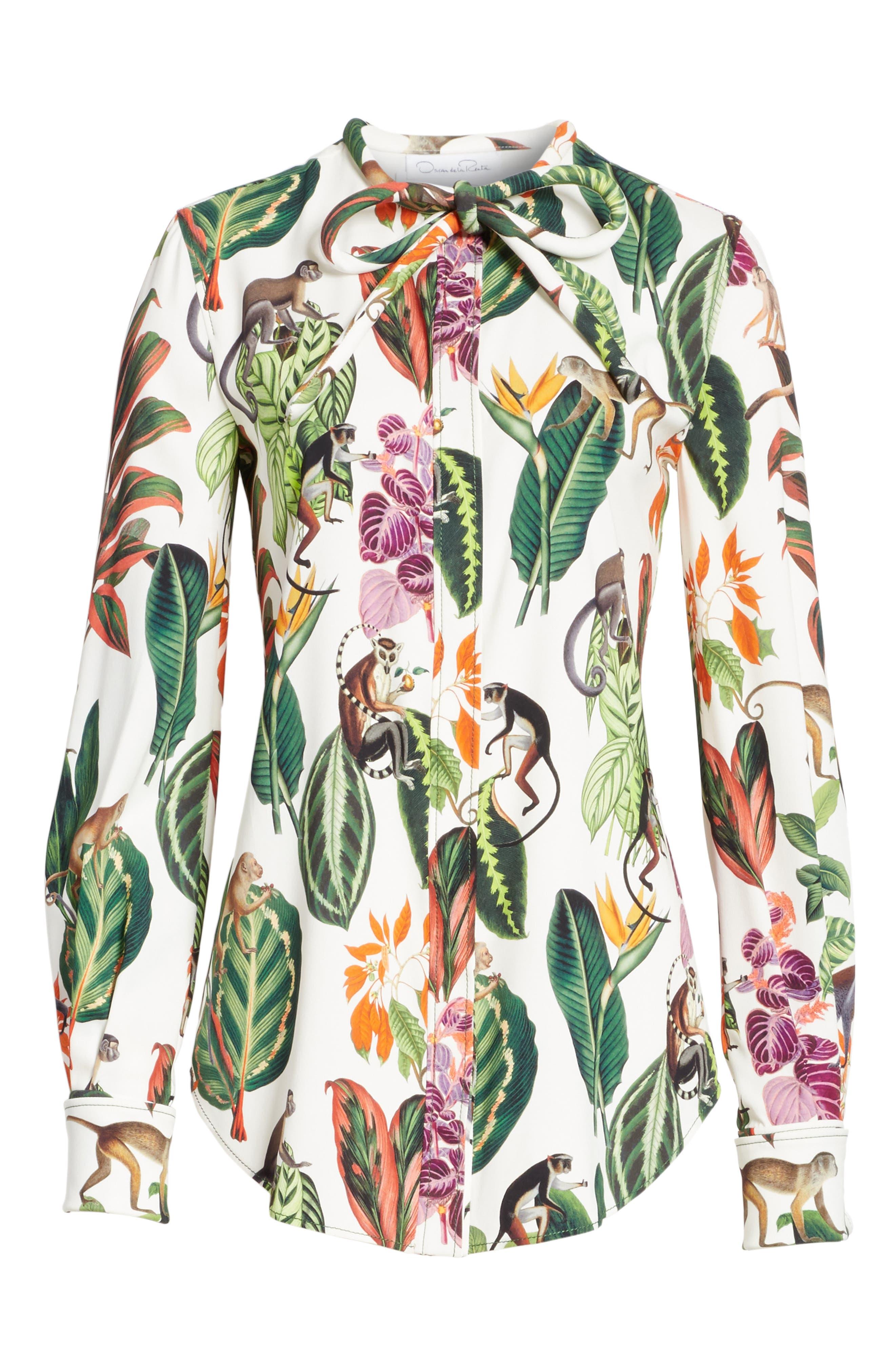Jungle Print Georgette Blouse,                             Alternate thumbnail 6, color,                             300