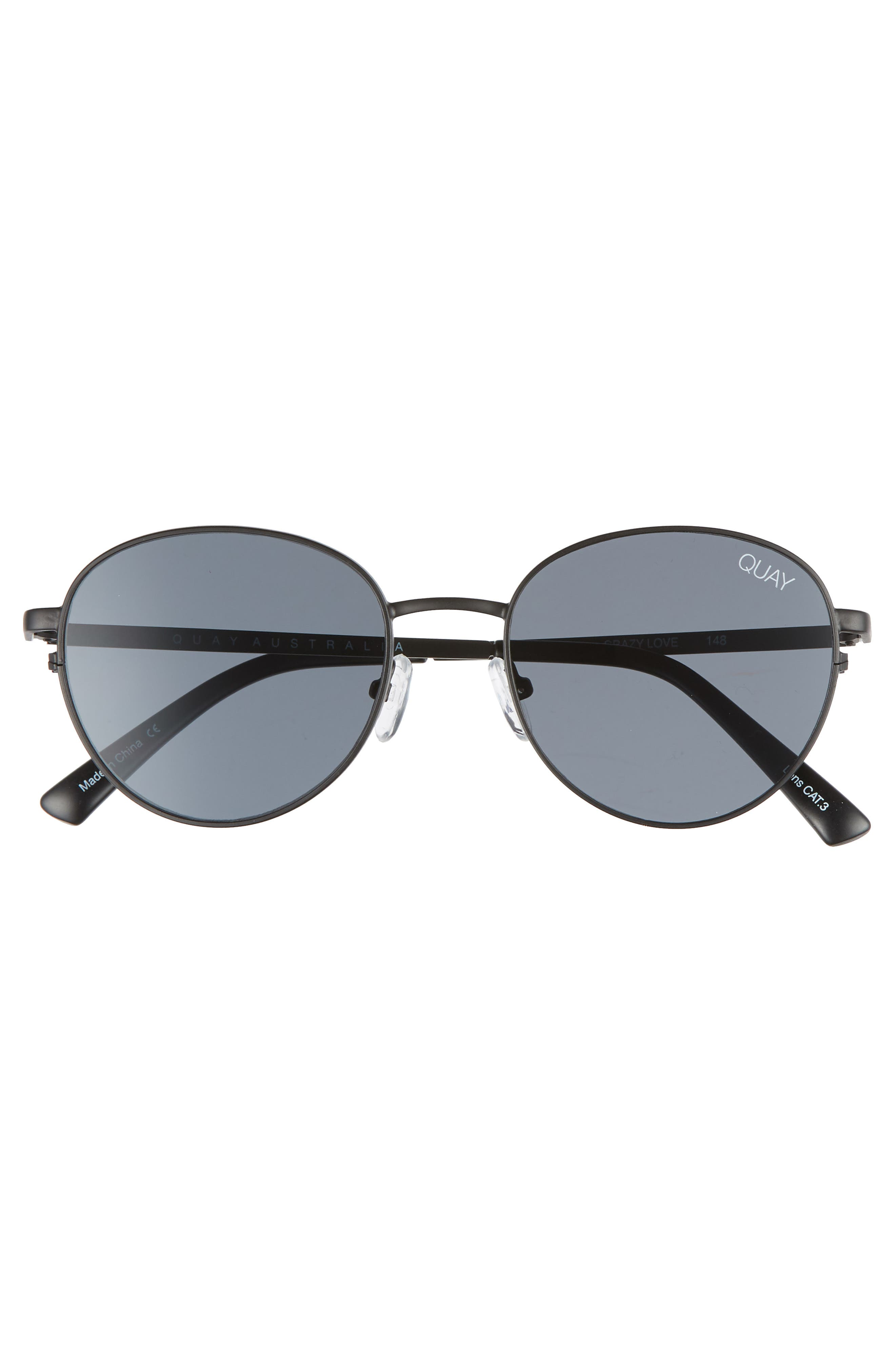 Crazy Love 45mm Round Sunglasses,                             Alternate thumbnail 3, color,                             BLACK/ SMOKE