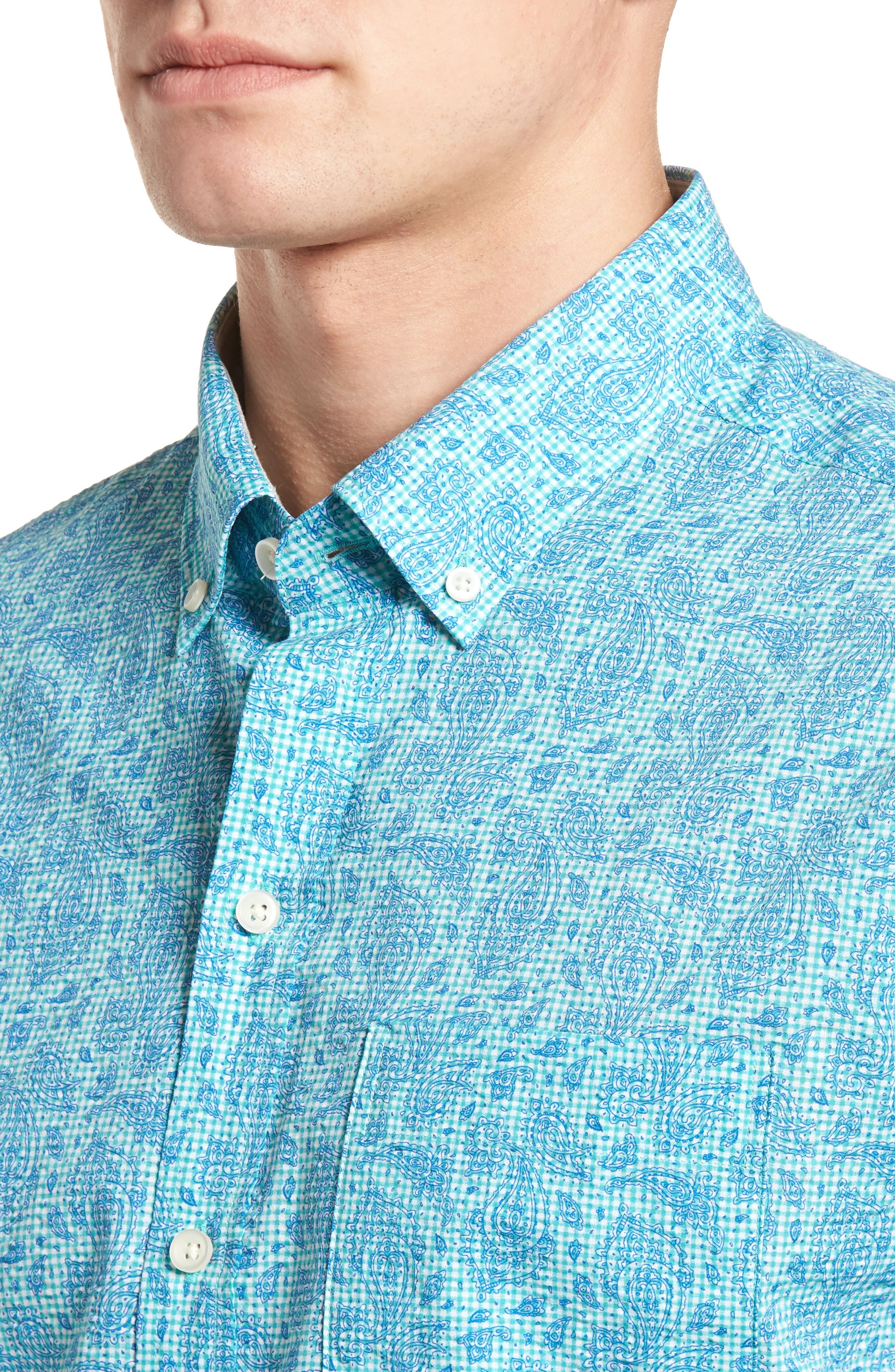 Jameson Classic Fit Print Seersucker Sport Shirt,                             Alternate thumbnail 4, color,                             328