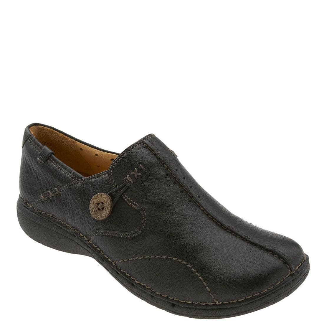 Unstructured 'Un.Loop' Slip-On,                             Main thumbnail 1, color,                             BLACK LEATHER