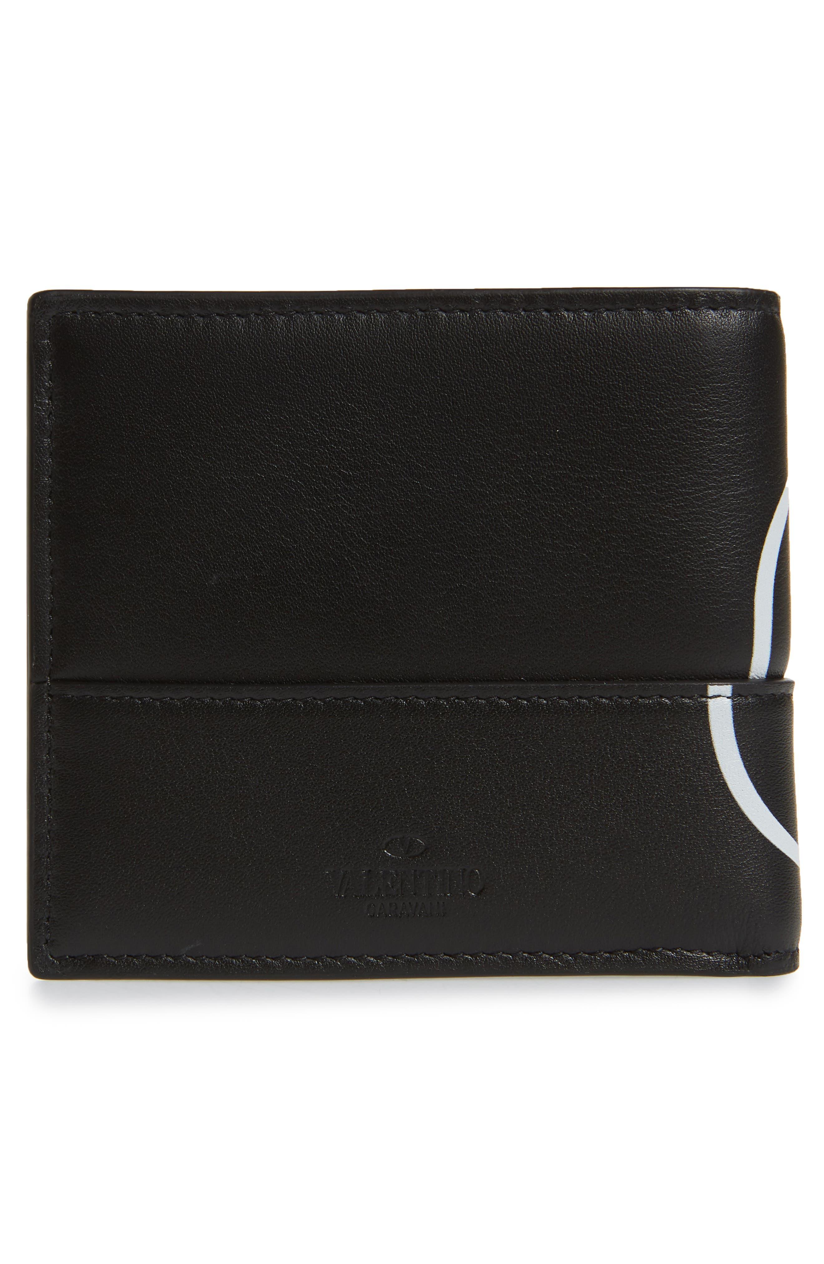 GARAVANI V-Logo Leather Wallet,                             Alternate thumbnail 3, color,                             BLACK WHITE