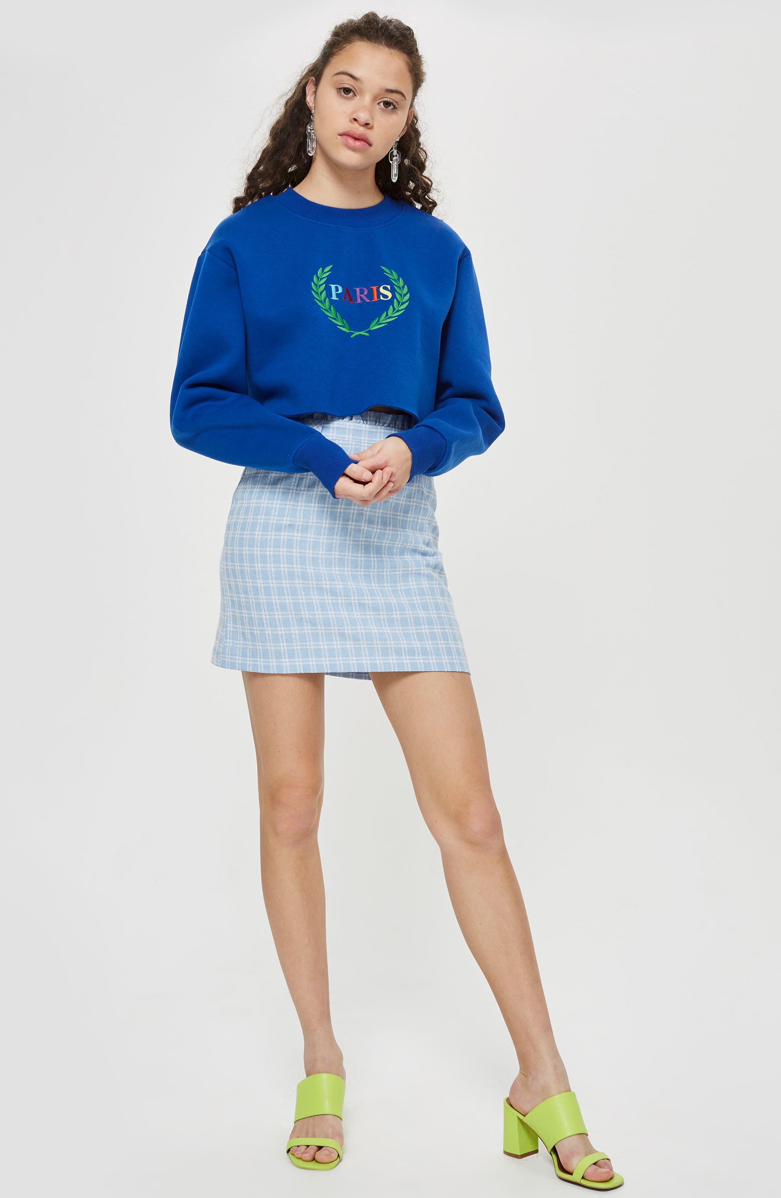 Check Bouclé Frill Miniskirt,                             Alternate thumbnail 4, color,                             450