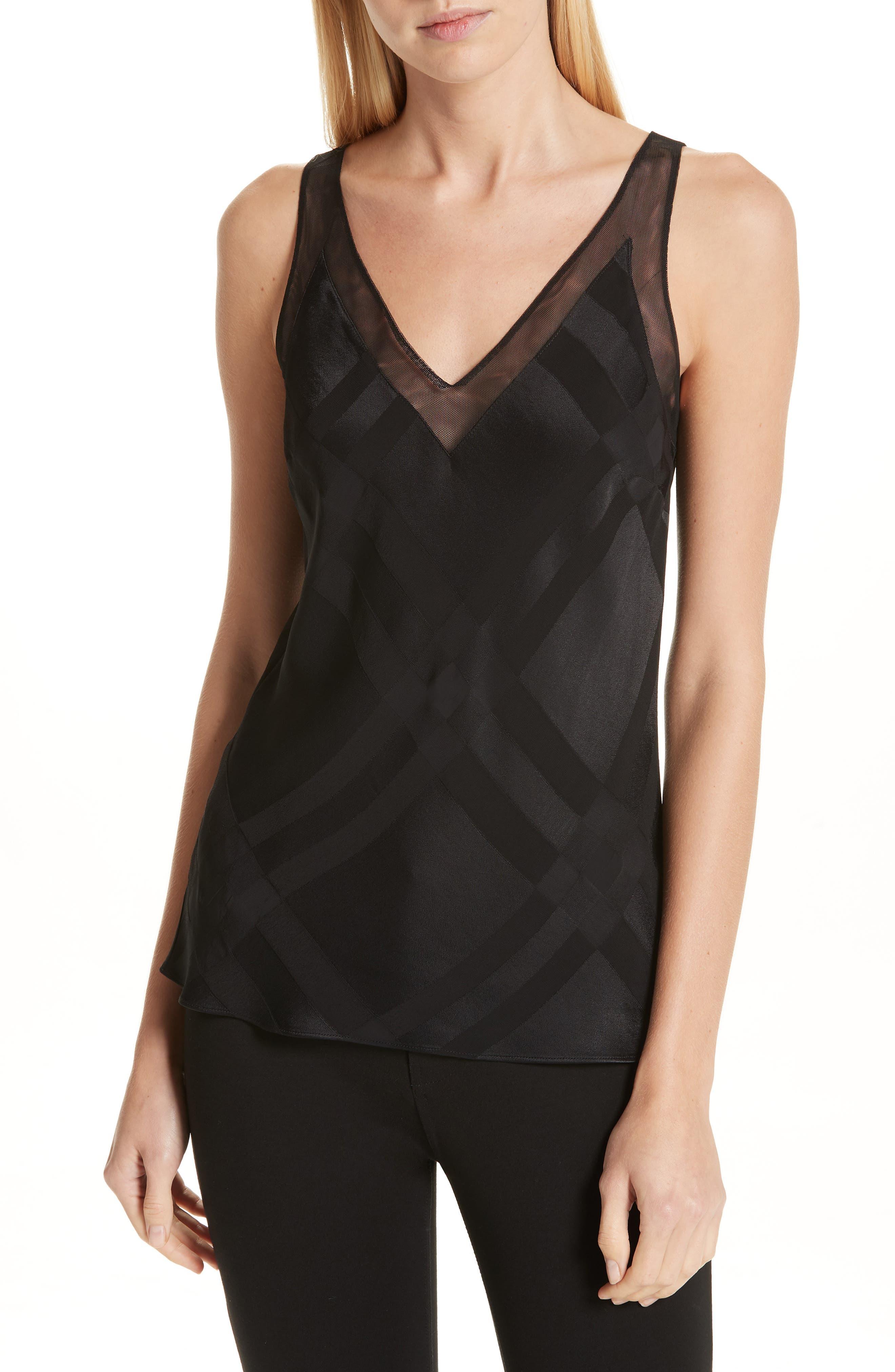 Elten Mesh Trim Camisole,                         Main,                         color, BLACK