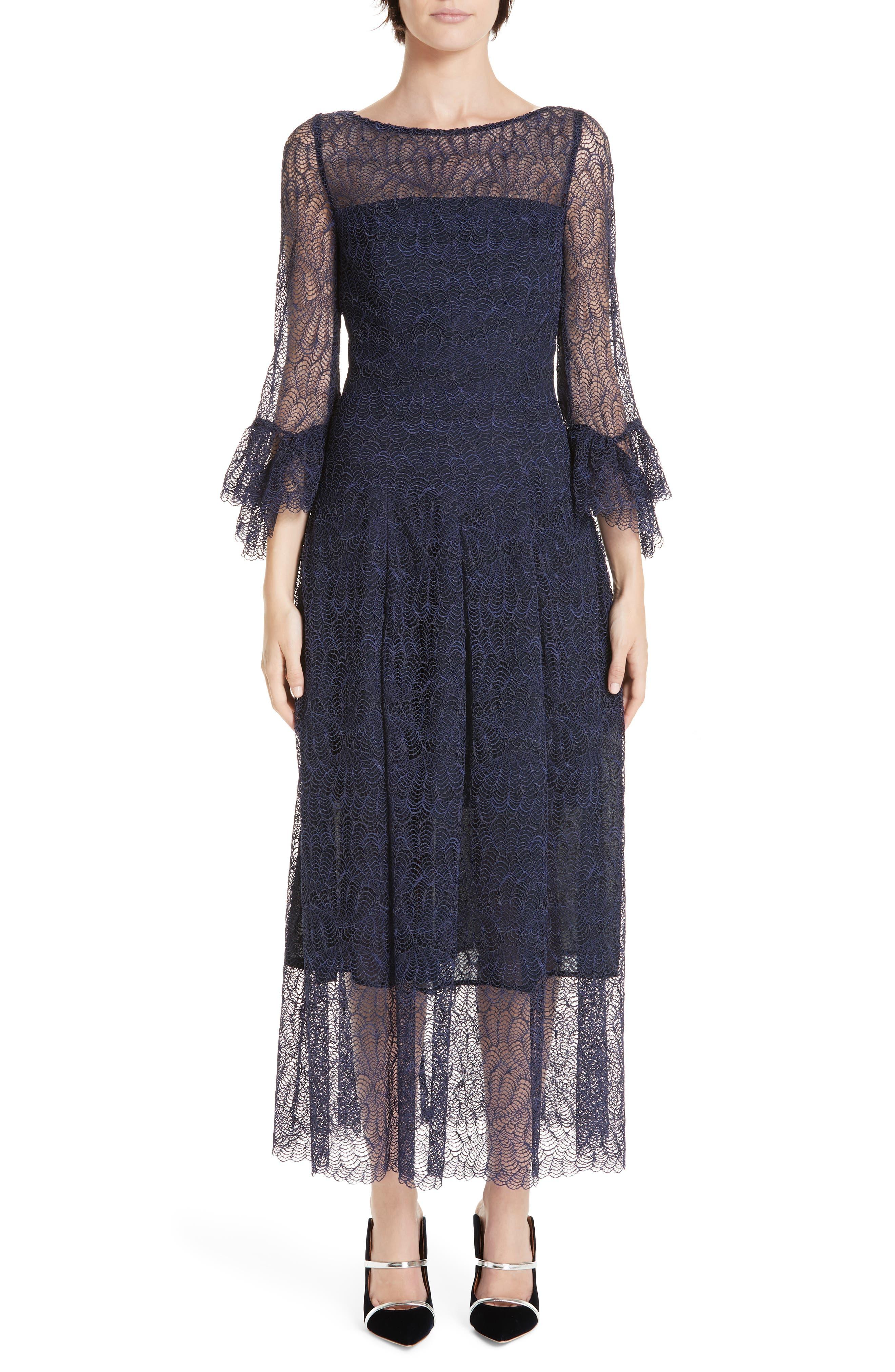 Talbot Runhof Allium Lace Bell Sleeve Tea Length Dress, Blue