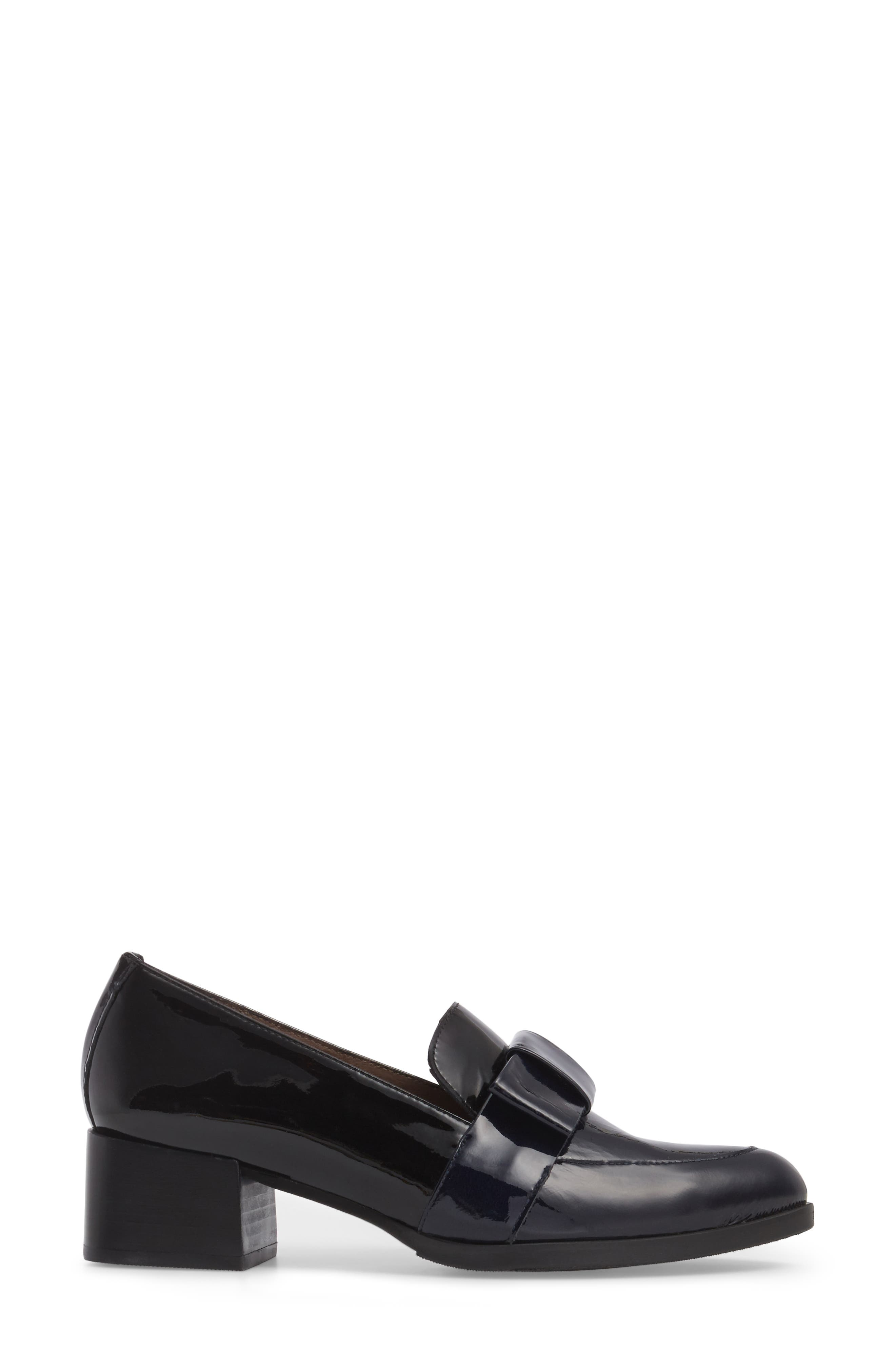Block Heel Loafer Pump,                             Alternate thumbnail 3, color,                             NAVY/ BLACK PATENT LEATHER