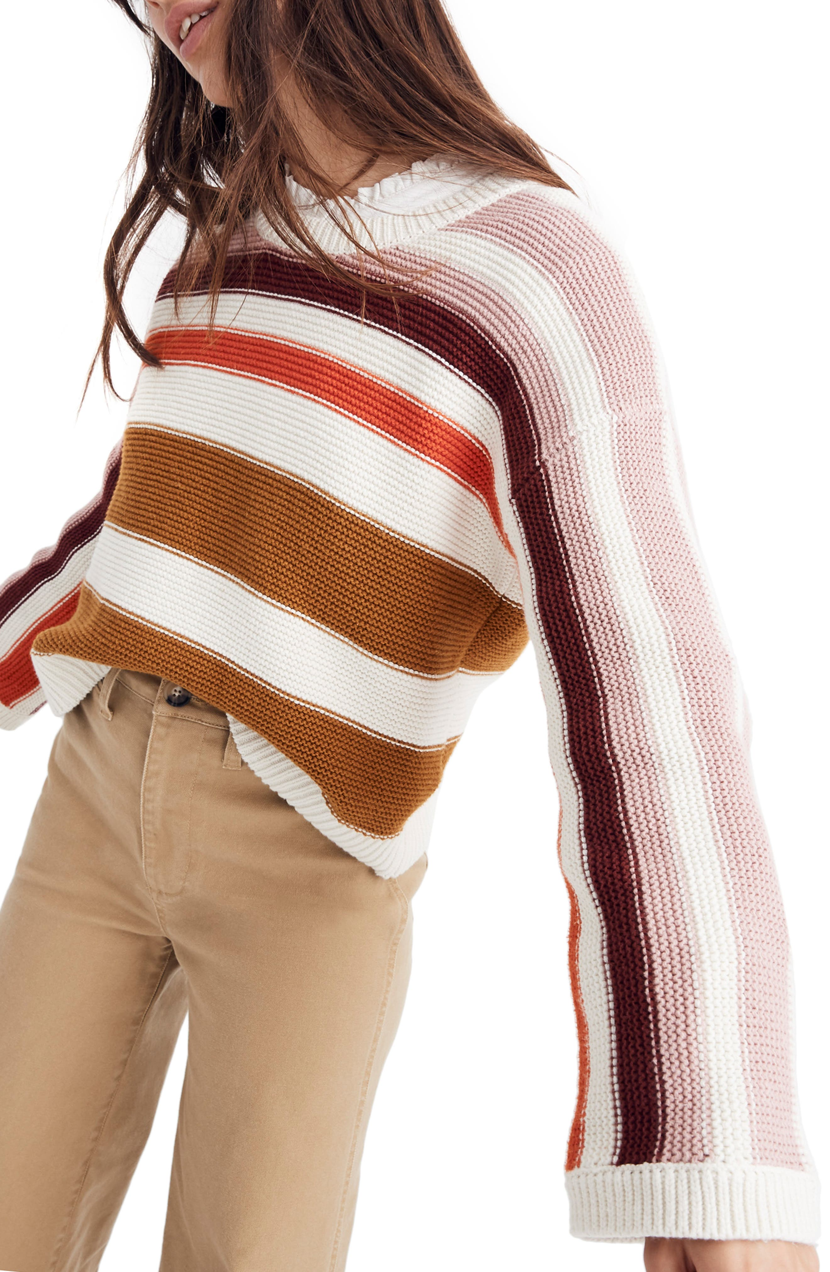 MADEWELL,                             Valleyscape Stripe Pullover Sweater,                             Alternate thumbnail 3, color,                             NATURAL