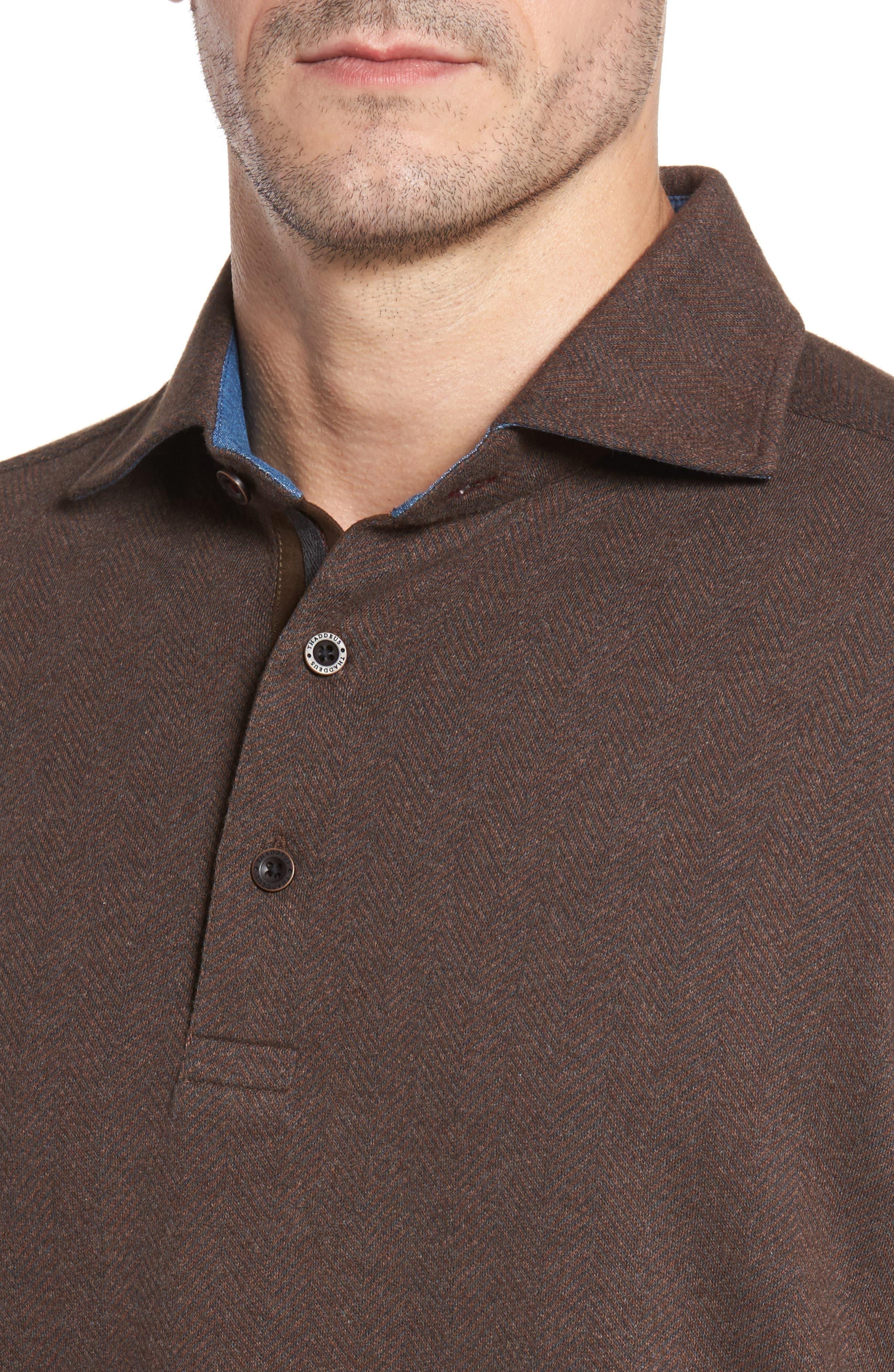 Reiner Herringbone Long Sleeve Polo,                             Alternate thumbnail 4, color,                             227