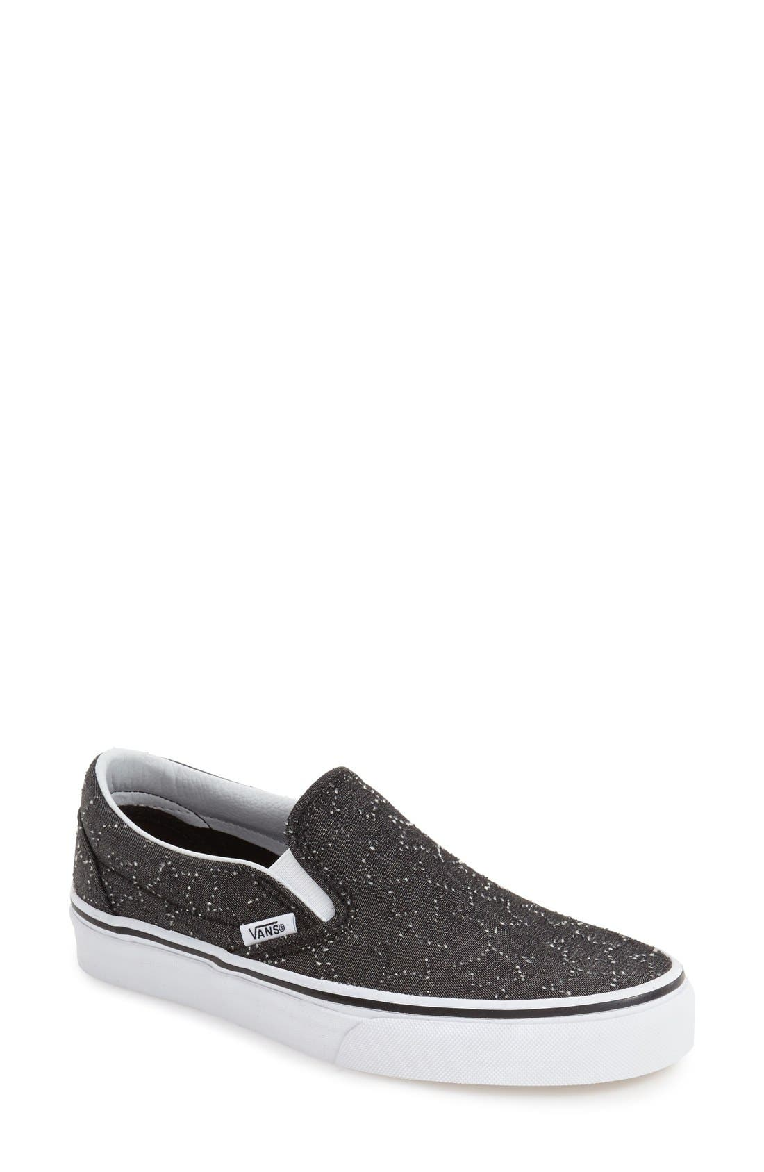 Classic Slip-On Sneaker,                         Main,                         color, CHECKER FLORAL BLACK