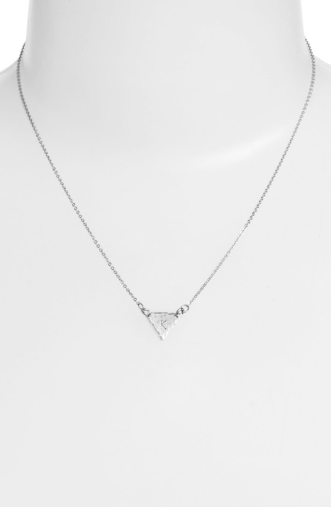 Sterling Silver Initial Mini Triangle Necklace,                             Alternate thumbnail 37, color,