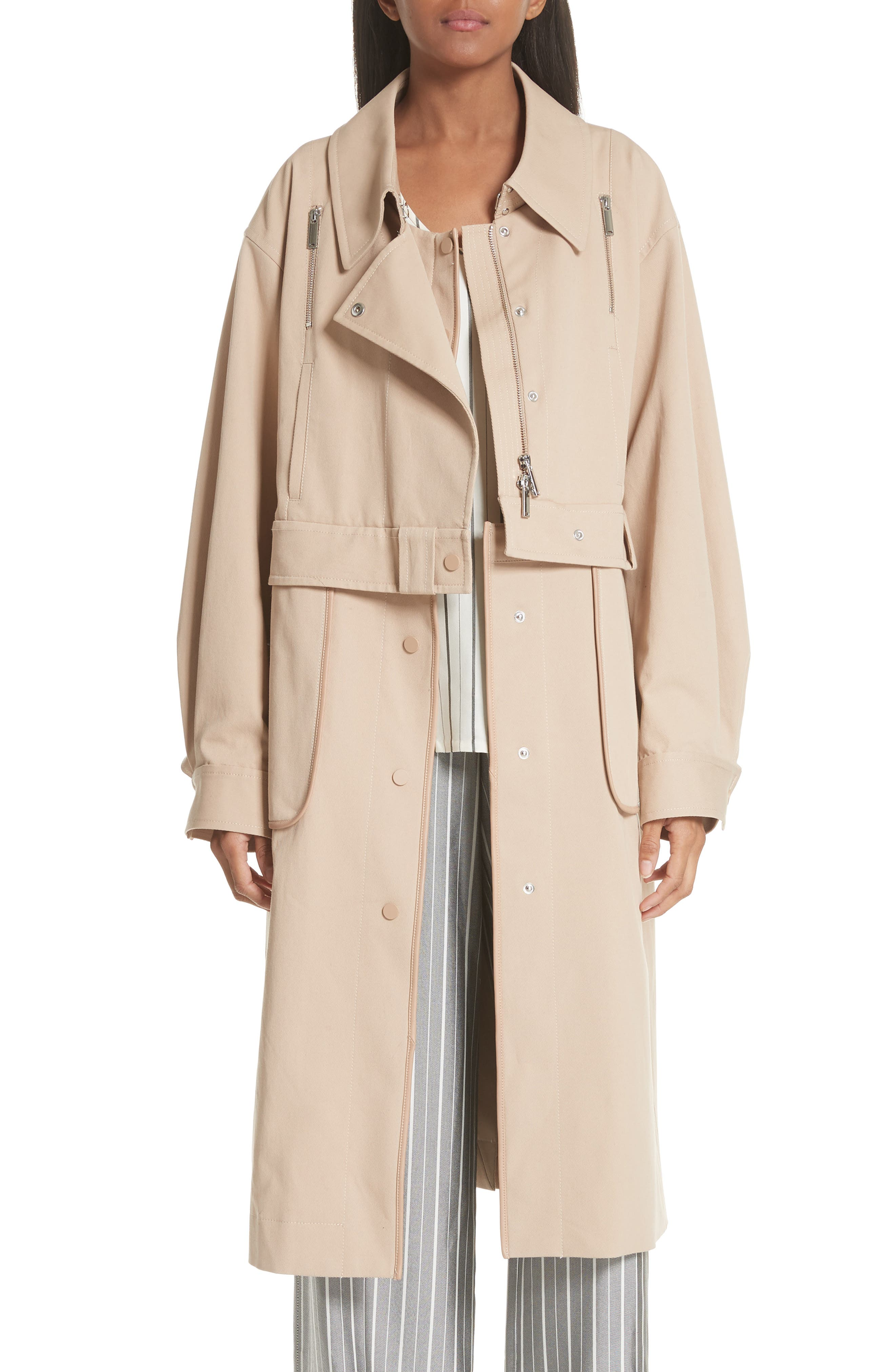 GREY JASON WU Sailor Stretch Twill Convertible Trench Coat in Fawn