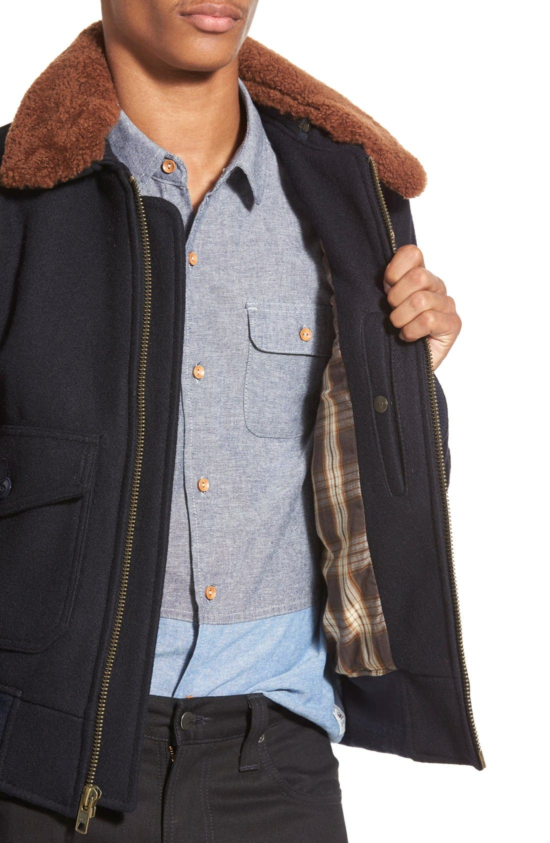 SchottNYC'G-1' Zip Front Bomber with Genuine Shearling Collar,                             Alternate thumbnail 9, color,                             410