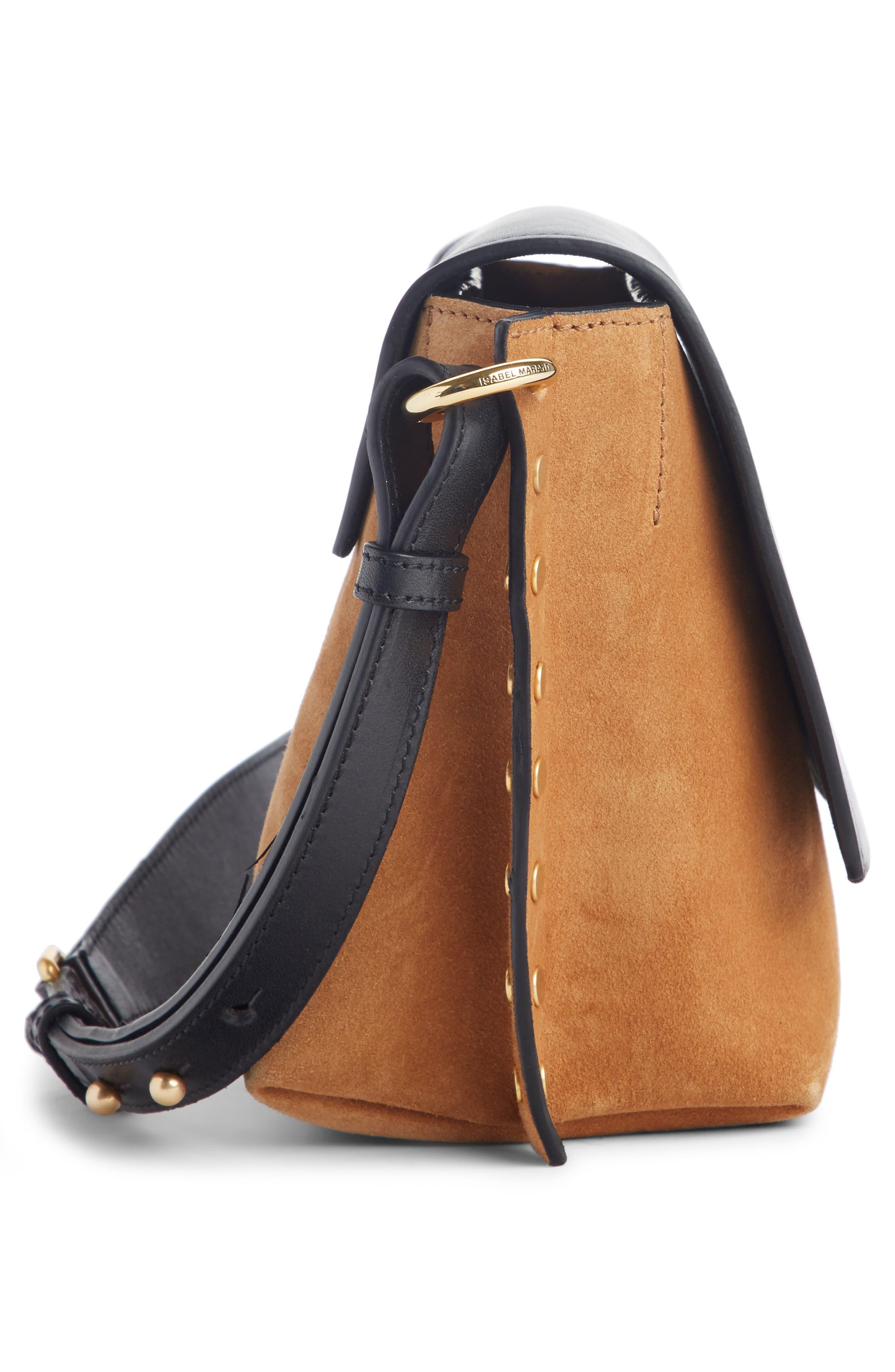 Kleny Colorblock Leather & Suede Shoulder Bag,                             Alternate thumbnail 3, color,                             CAMEL