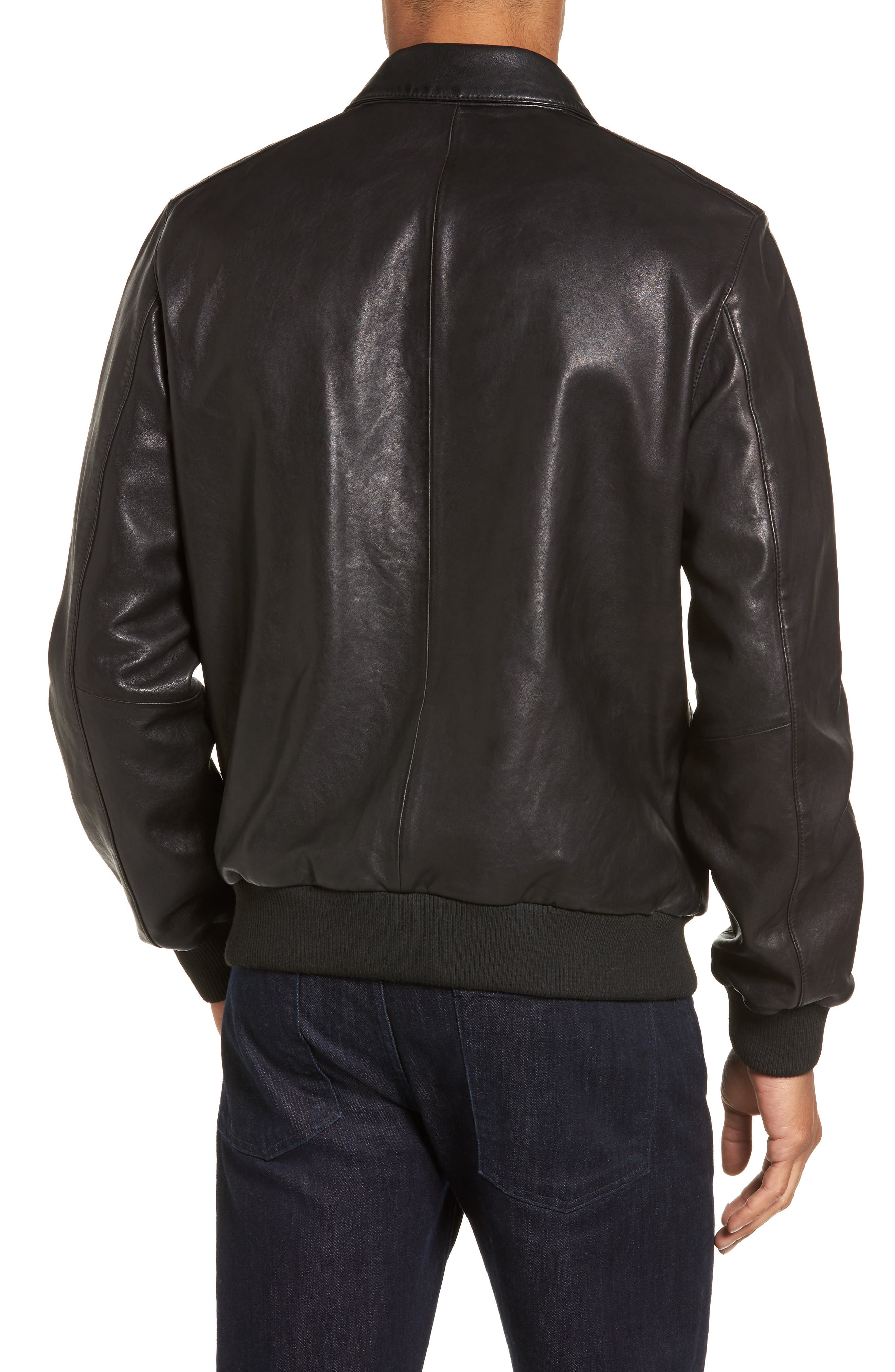 Leather Bomber Jacket,                             Alternate thumbnail 2, color,                             001