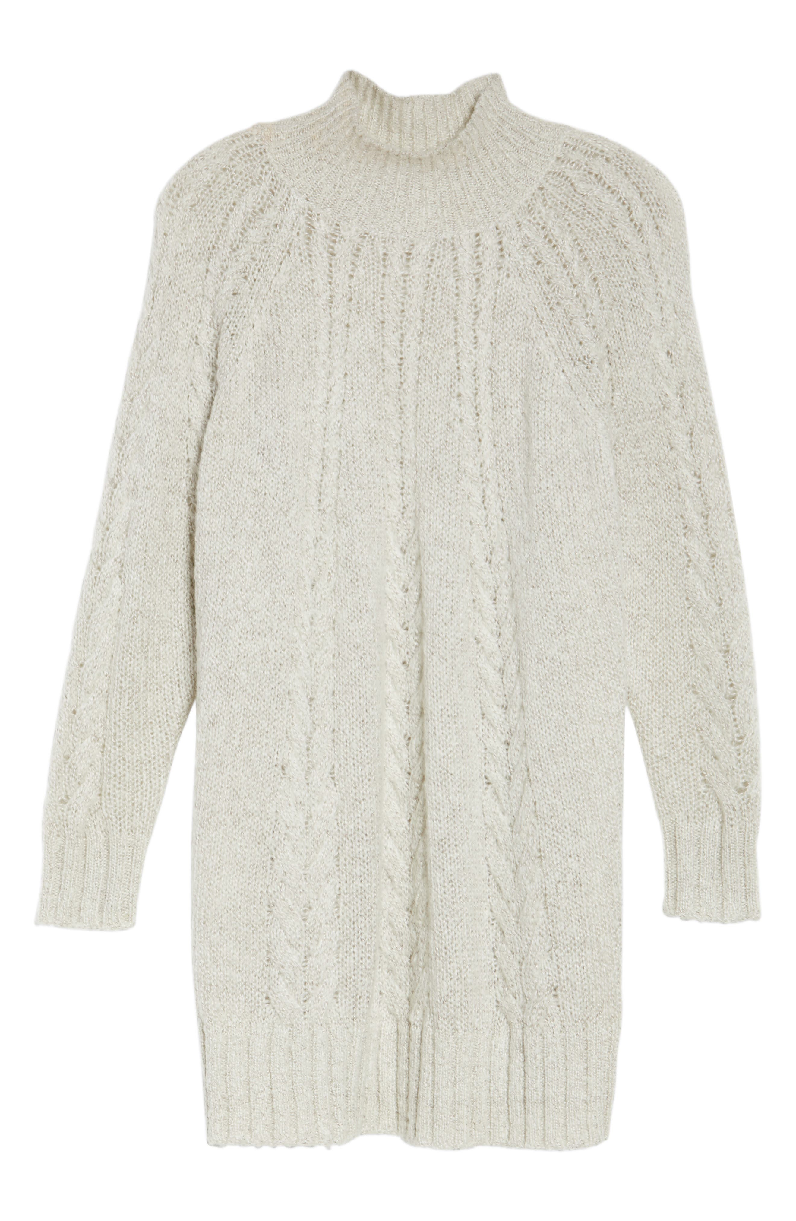 Cable Knit Tunic Sweater,                             Alternate thumbnail 6, color,                             BEIGE OATMEAL LIGHT HEATHER