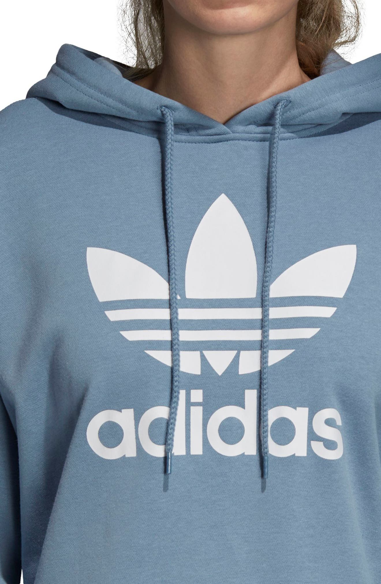 adidas Active Icons Crop Hoodie,                             Alternate thumbnail 4, color,                             060