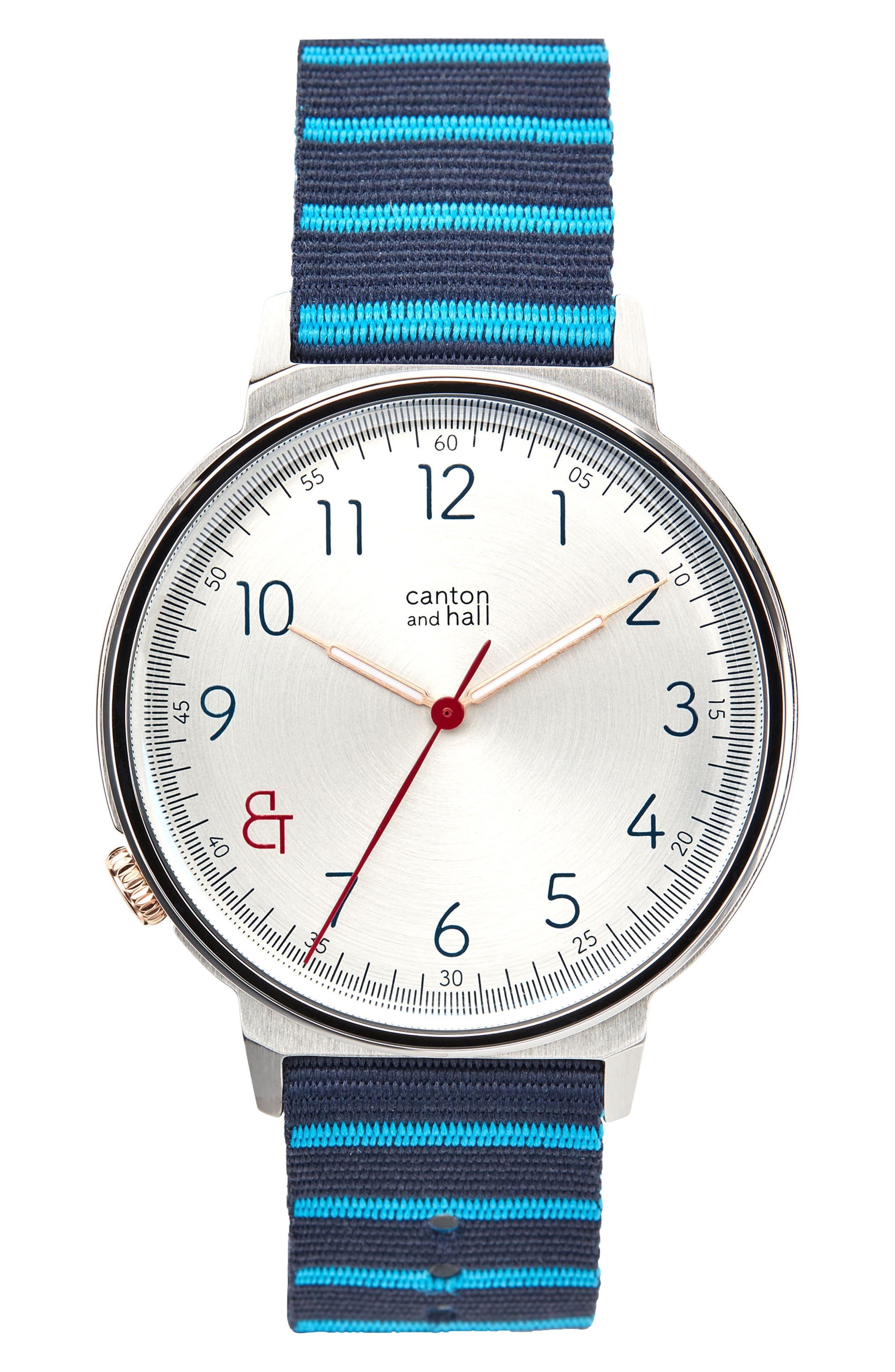 Davis Nylon Strap Watch, 44mm,                             Main thumbnail 1, color,                             WHITE/ NAVY