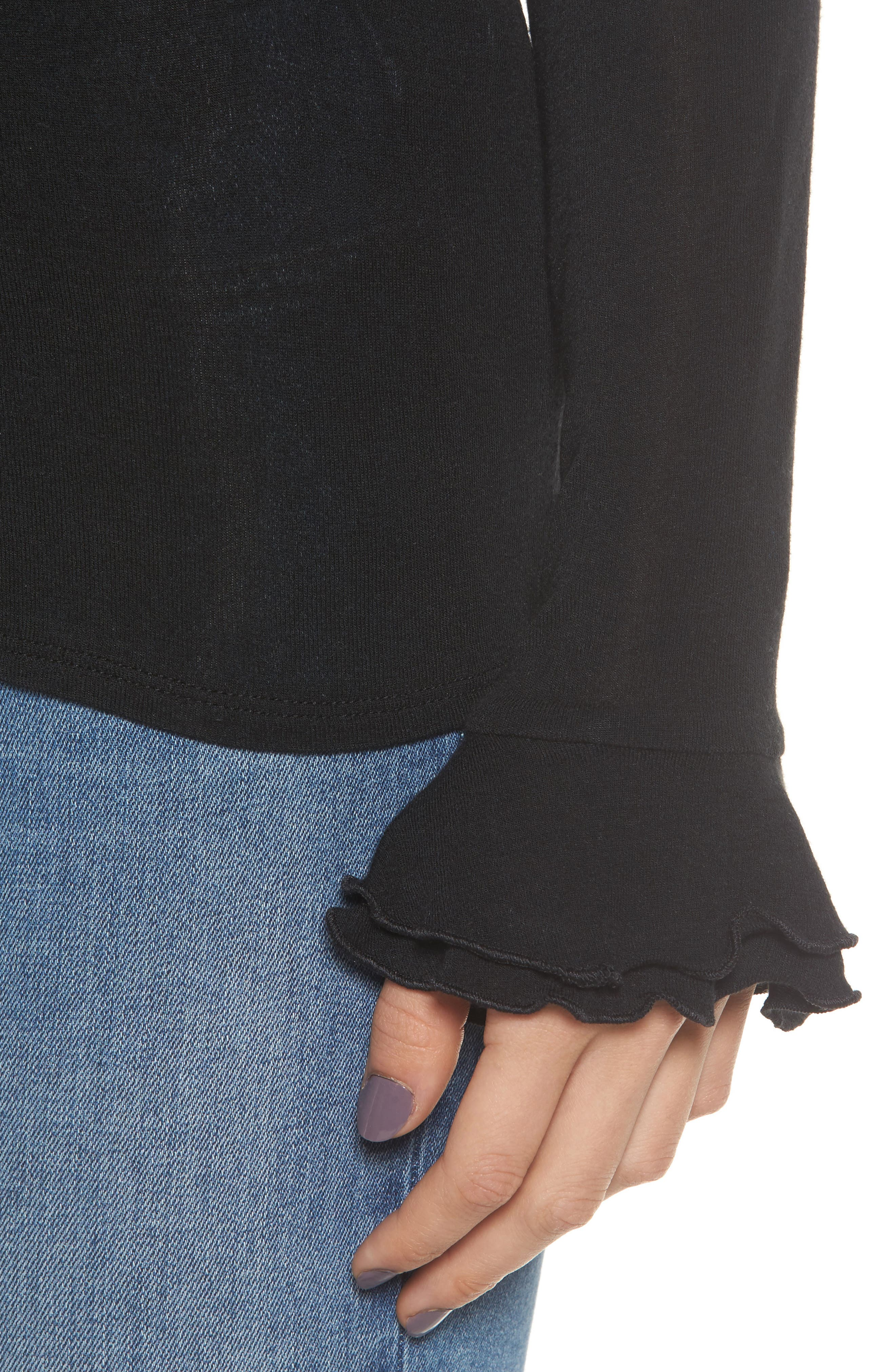 Ruffle Cuff Sleeve Tee,                             Alternate thumbnail 4, color,                             001