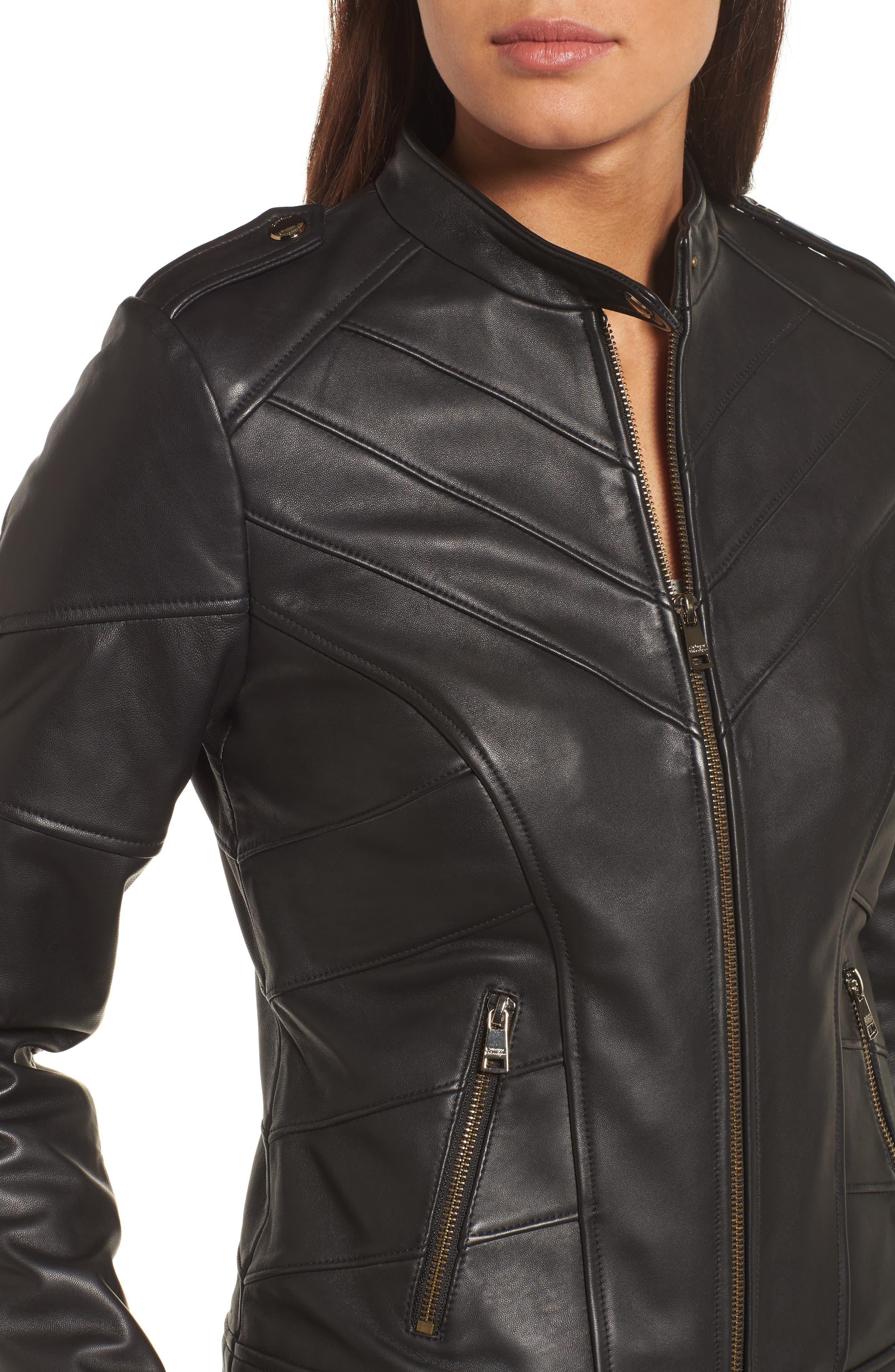 Chevron Seam Leather Jacket,                             Alternate thumbnail 4, color,                             001