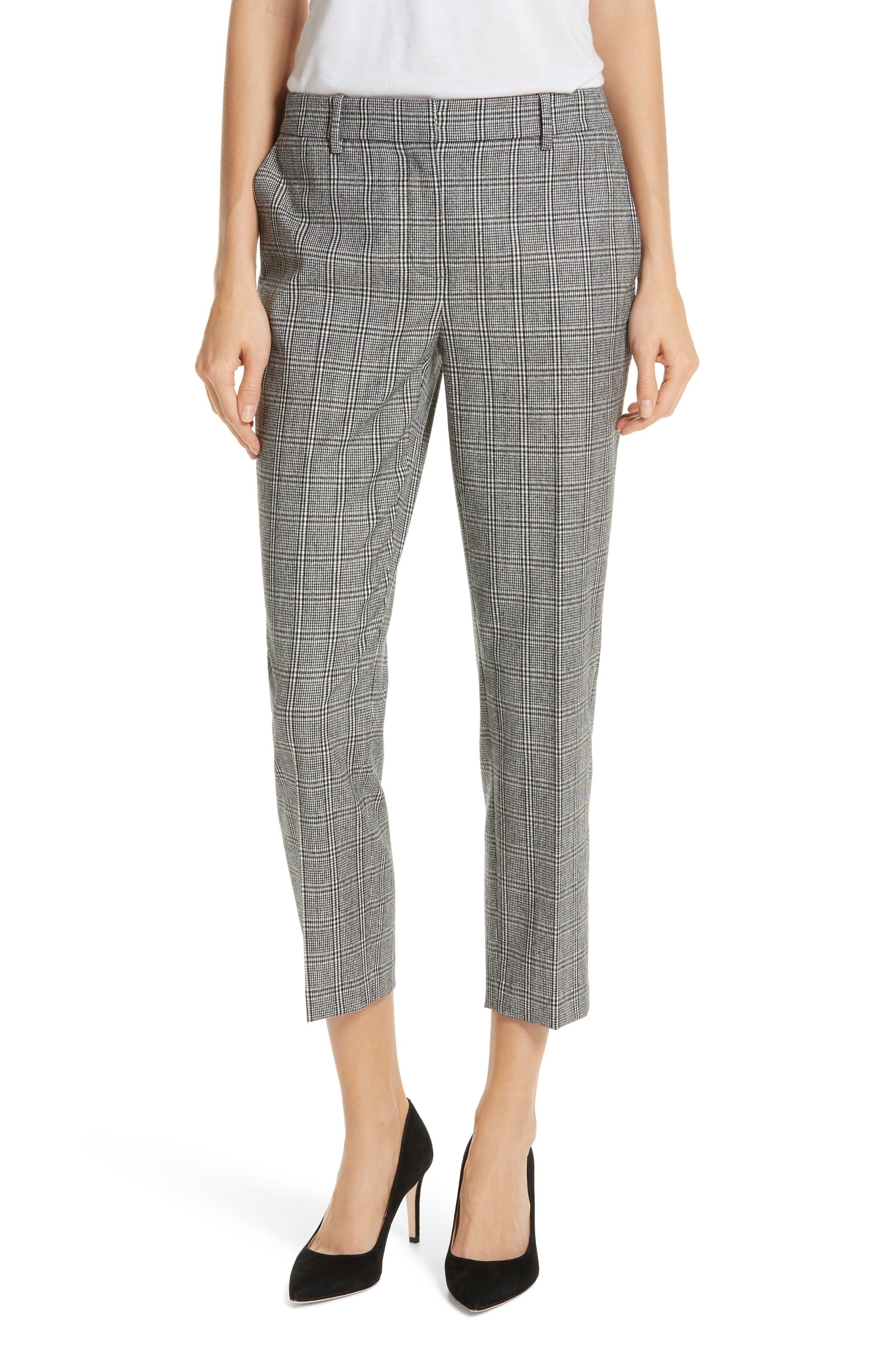 Check Crop Pants,                         Main,                         color, BLACK- WHITE ELODIE CHECK