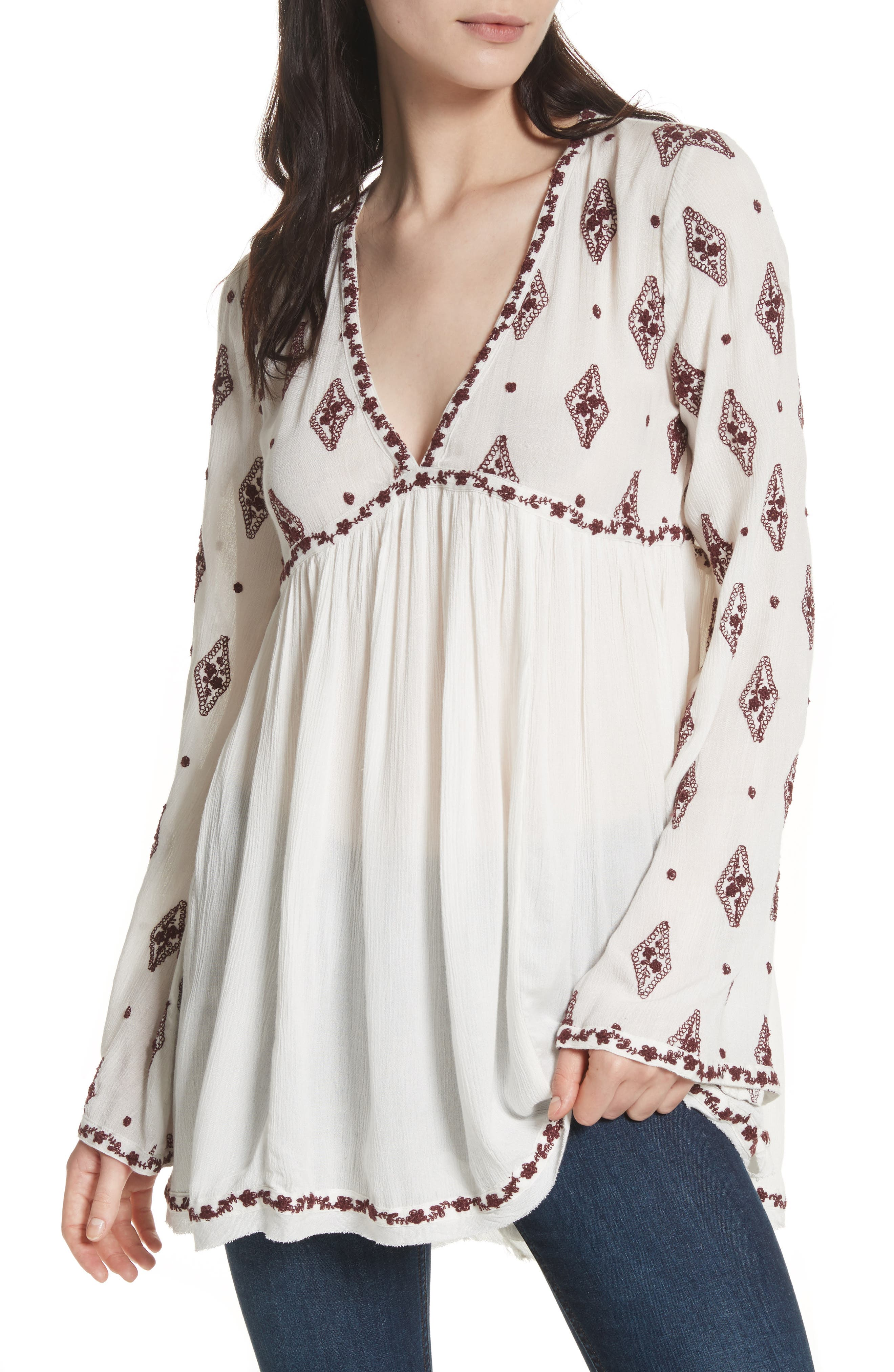 Embroidered Bell Sleeve Top,                             Main thumbnail 3, color,