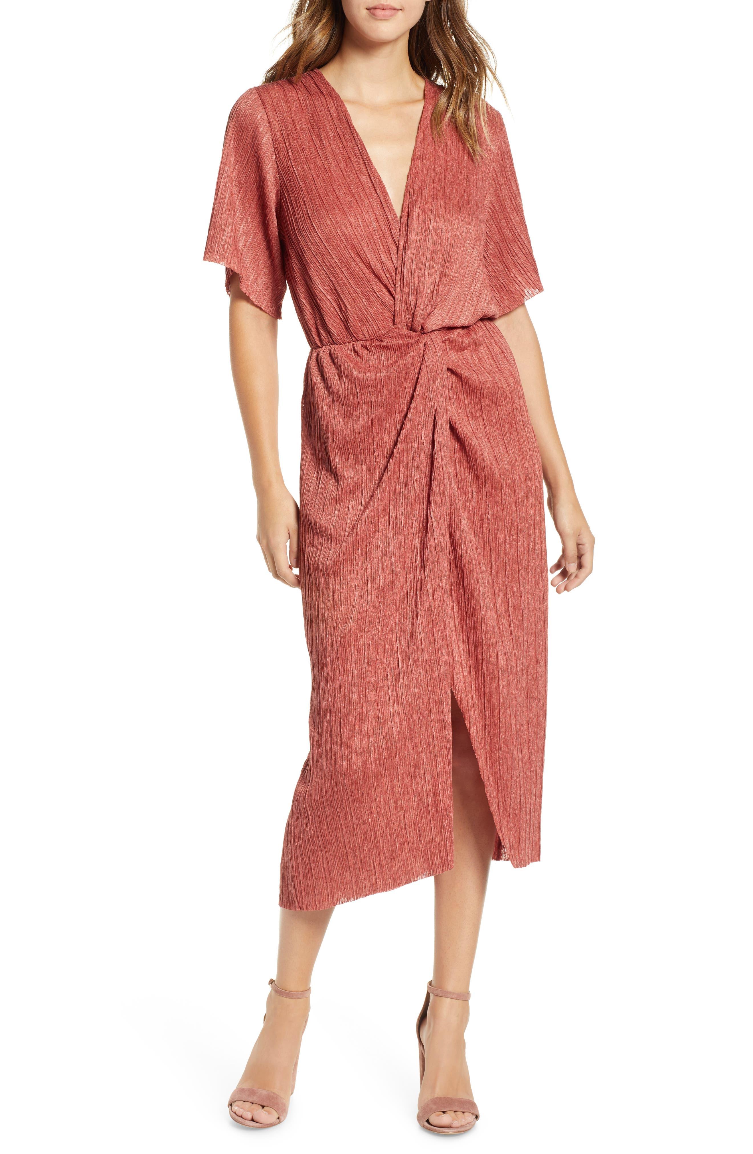 70s Dresses – Disco Dresses, Hippie Dresses, Wrap Dresses Womens All In Favor Dolman Plisse Midi Dress Size Large - Brown $59.00 AT vintagedancer.com