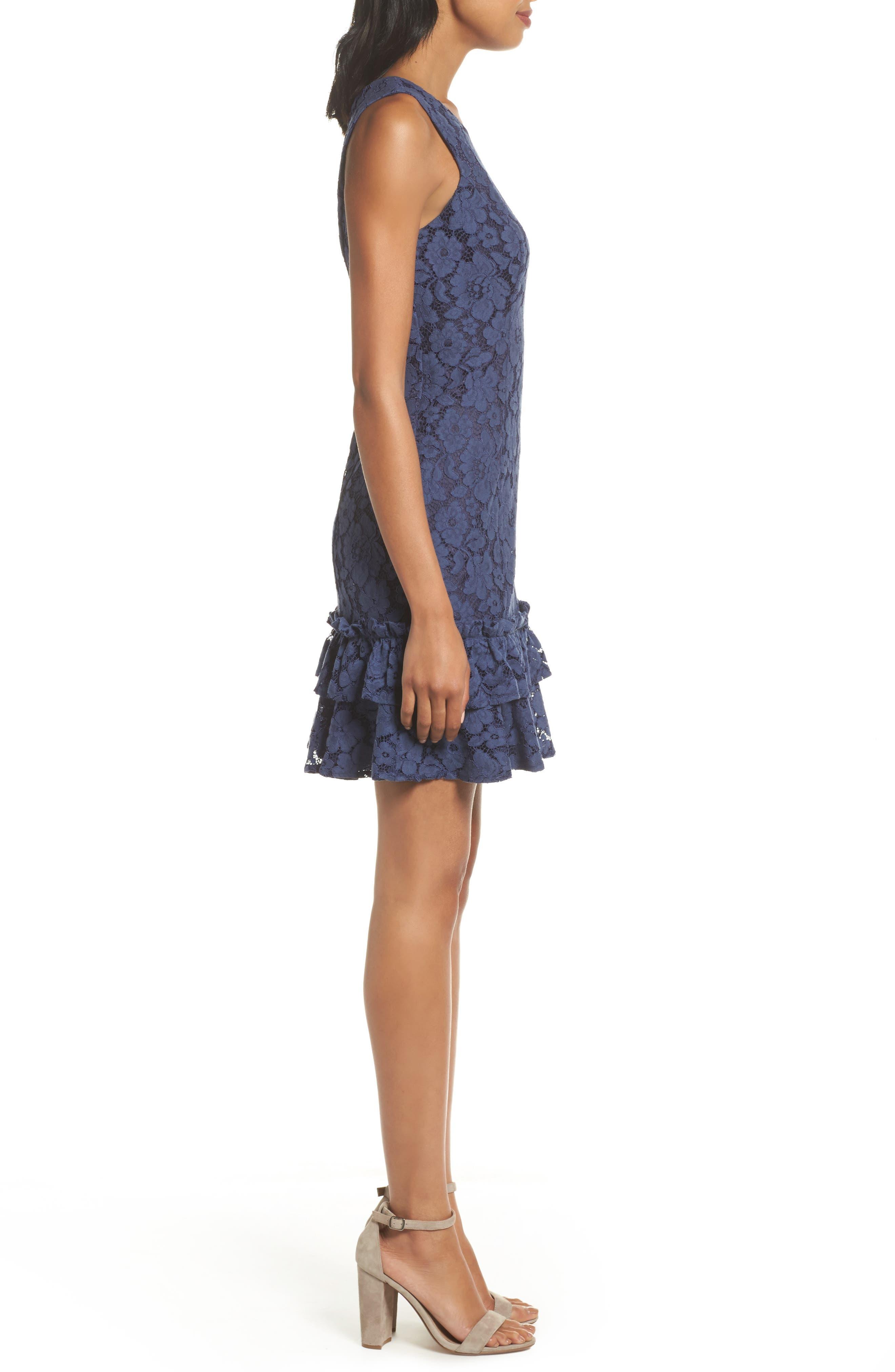 Ruffle Lace Sheath Dress,                             Alternate thumbnail 3, color,                             410