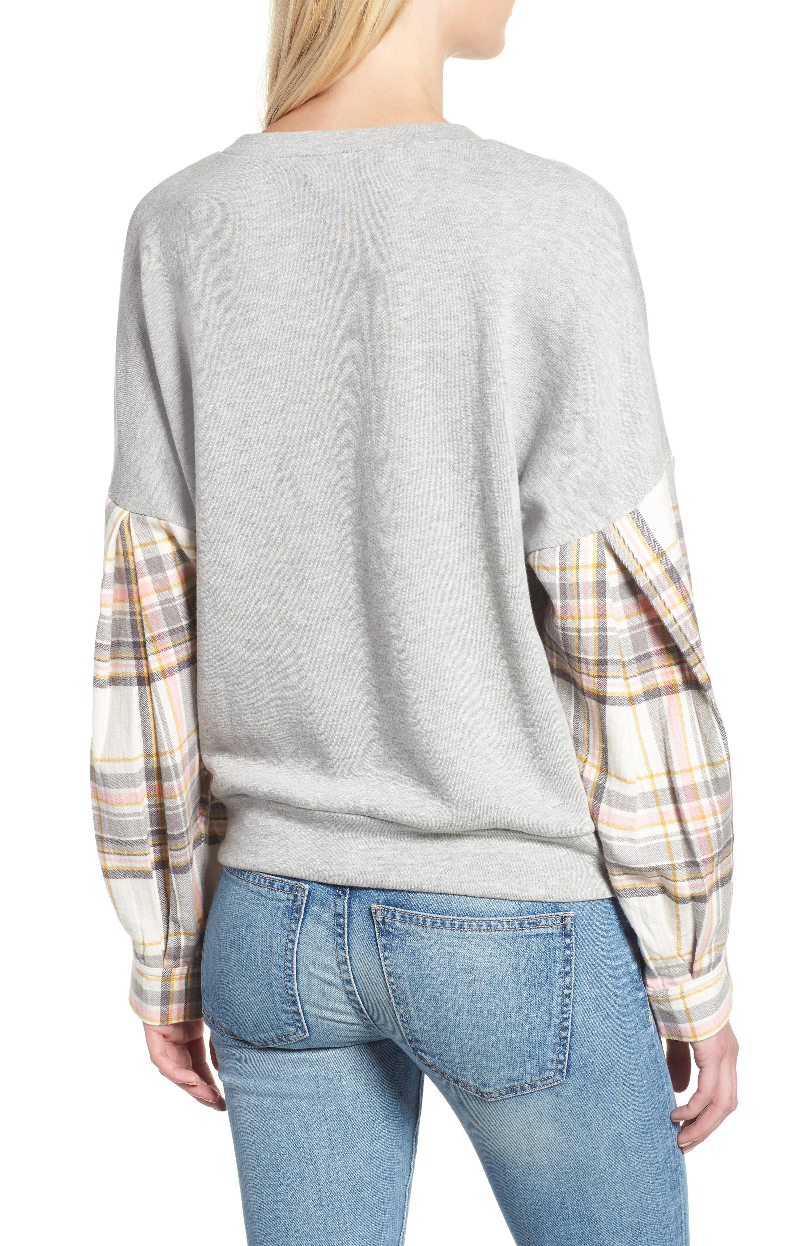 Flannel Sleeve Sweatshirt,                             Alternate thumbnail 2, color,                             030