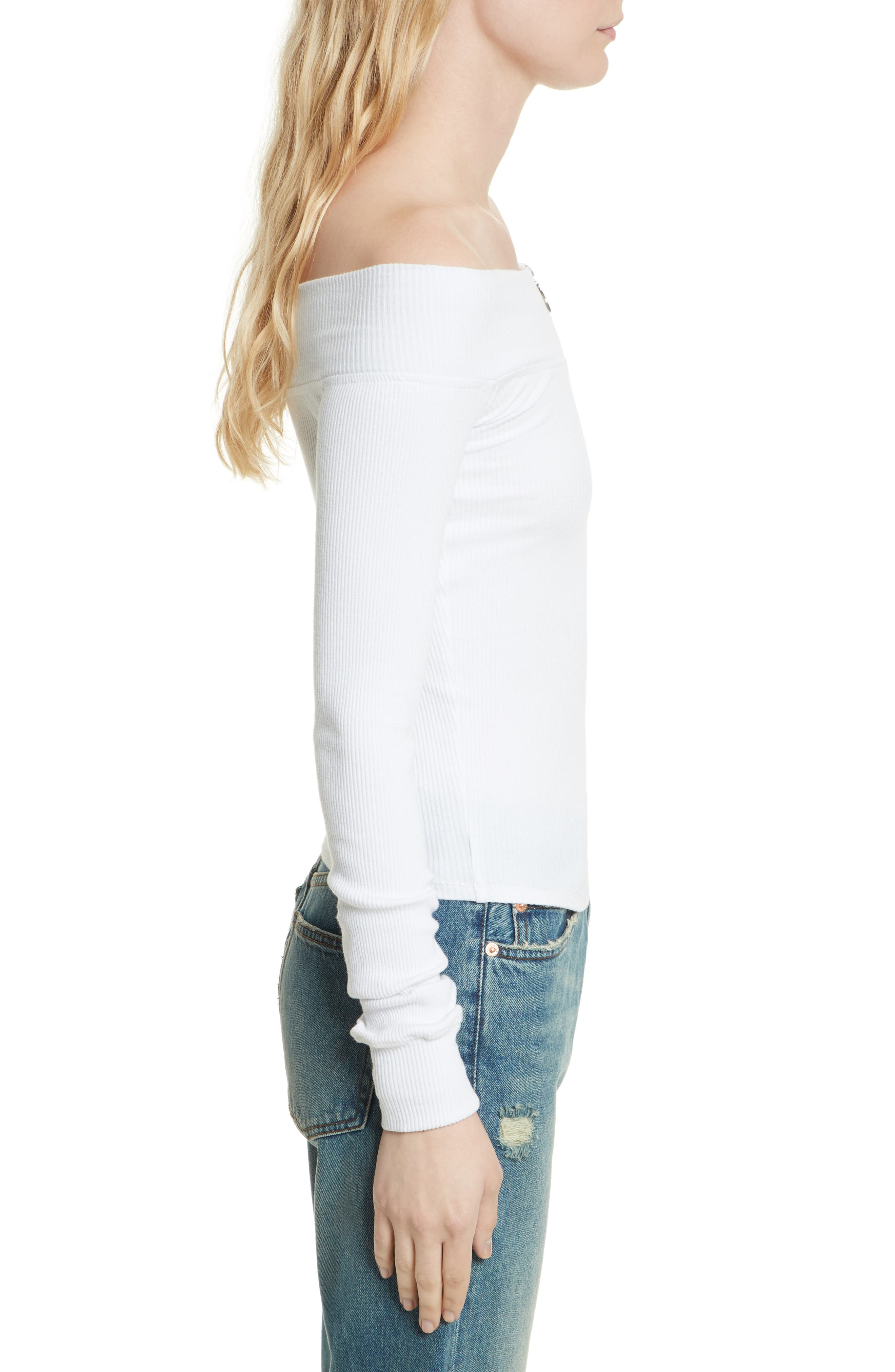 Zip to It Off the Shoulder Top,                             Alternate thumbnail 6, color,