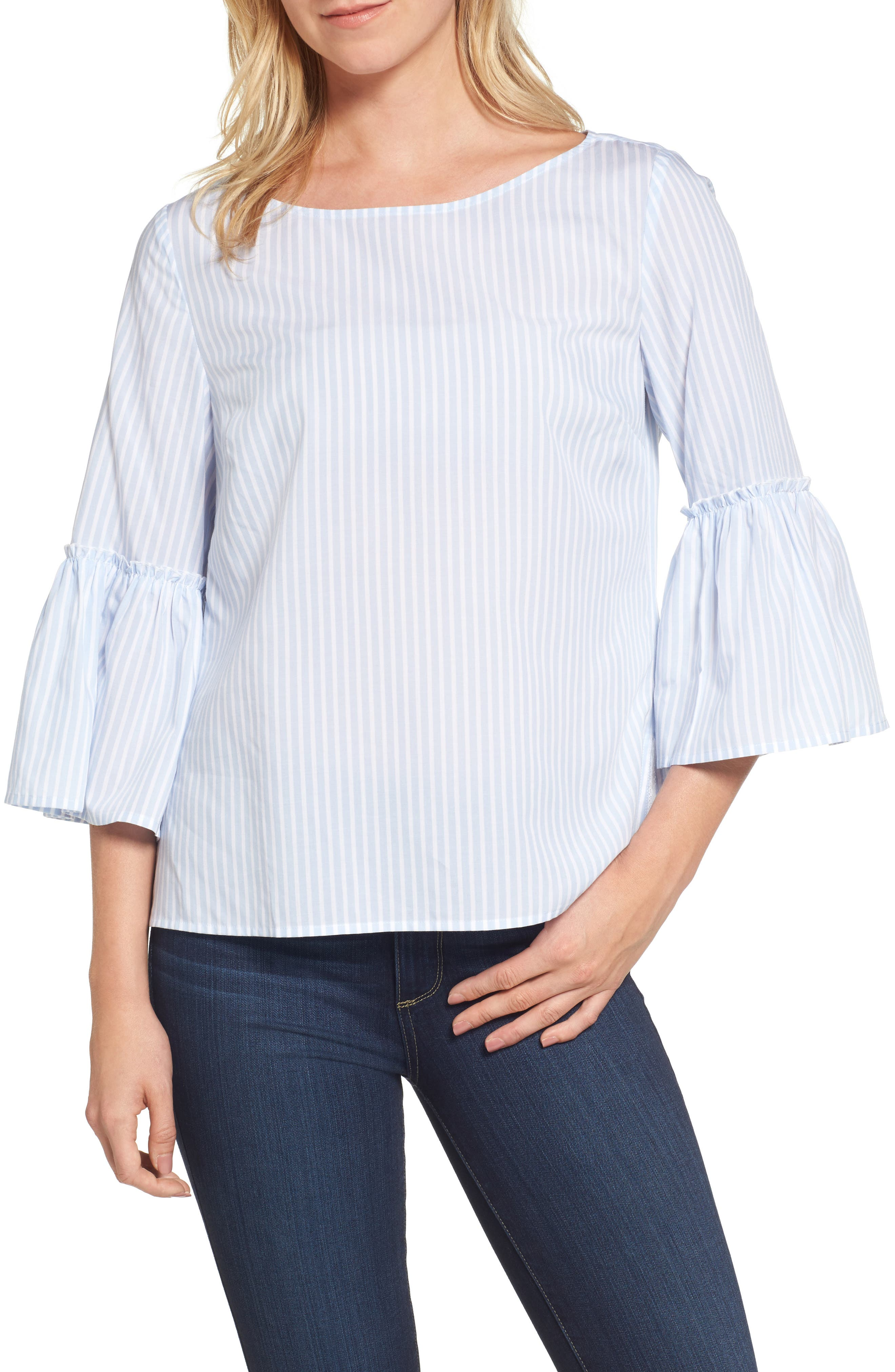 Stripe Bell Sleeve Top,                             Main thumbnail 1, color,                             456