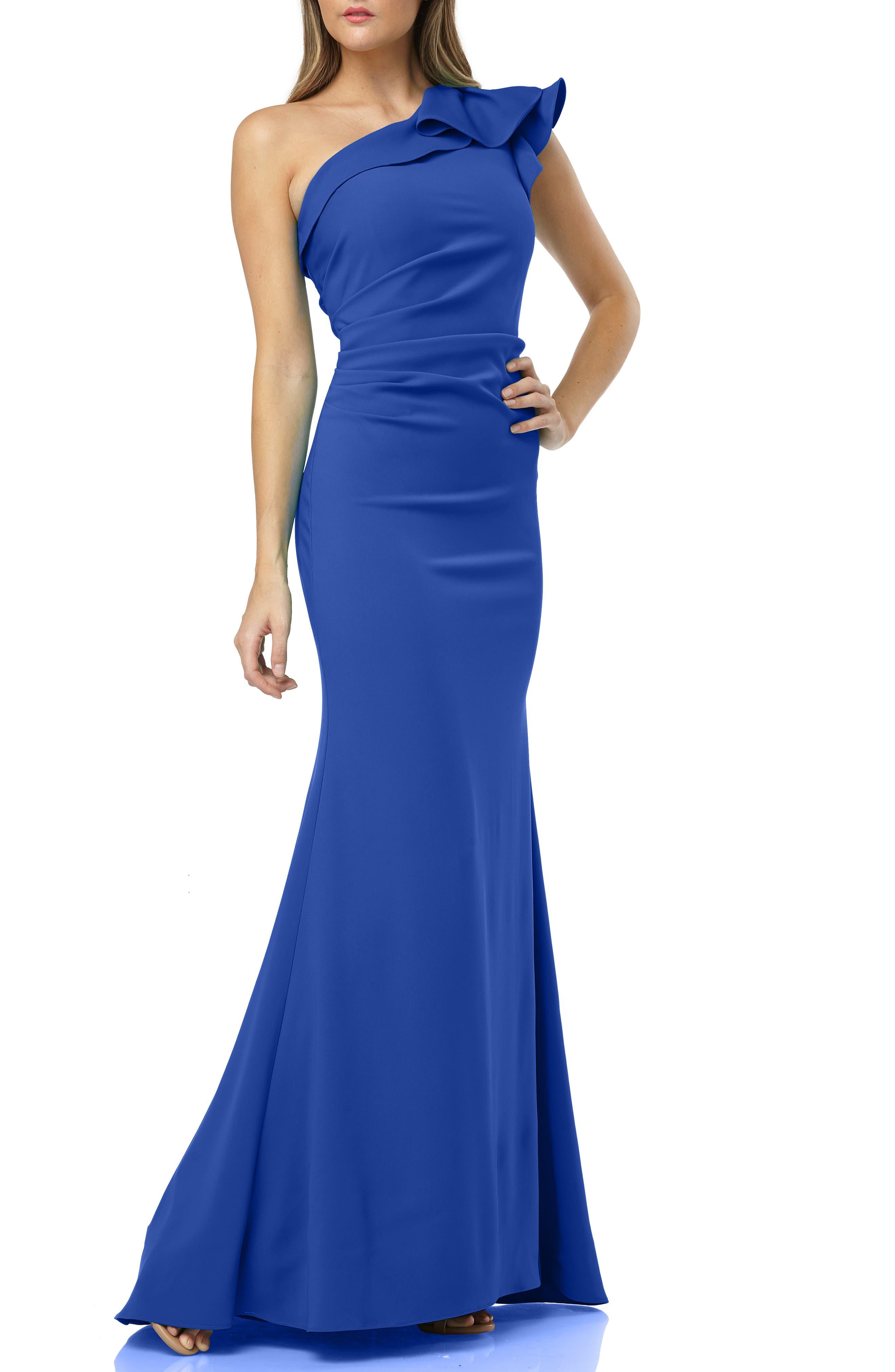 Carmen Marc Valvo Infusion One-Shoulder Gown, Blue