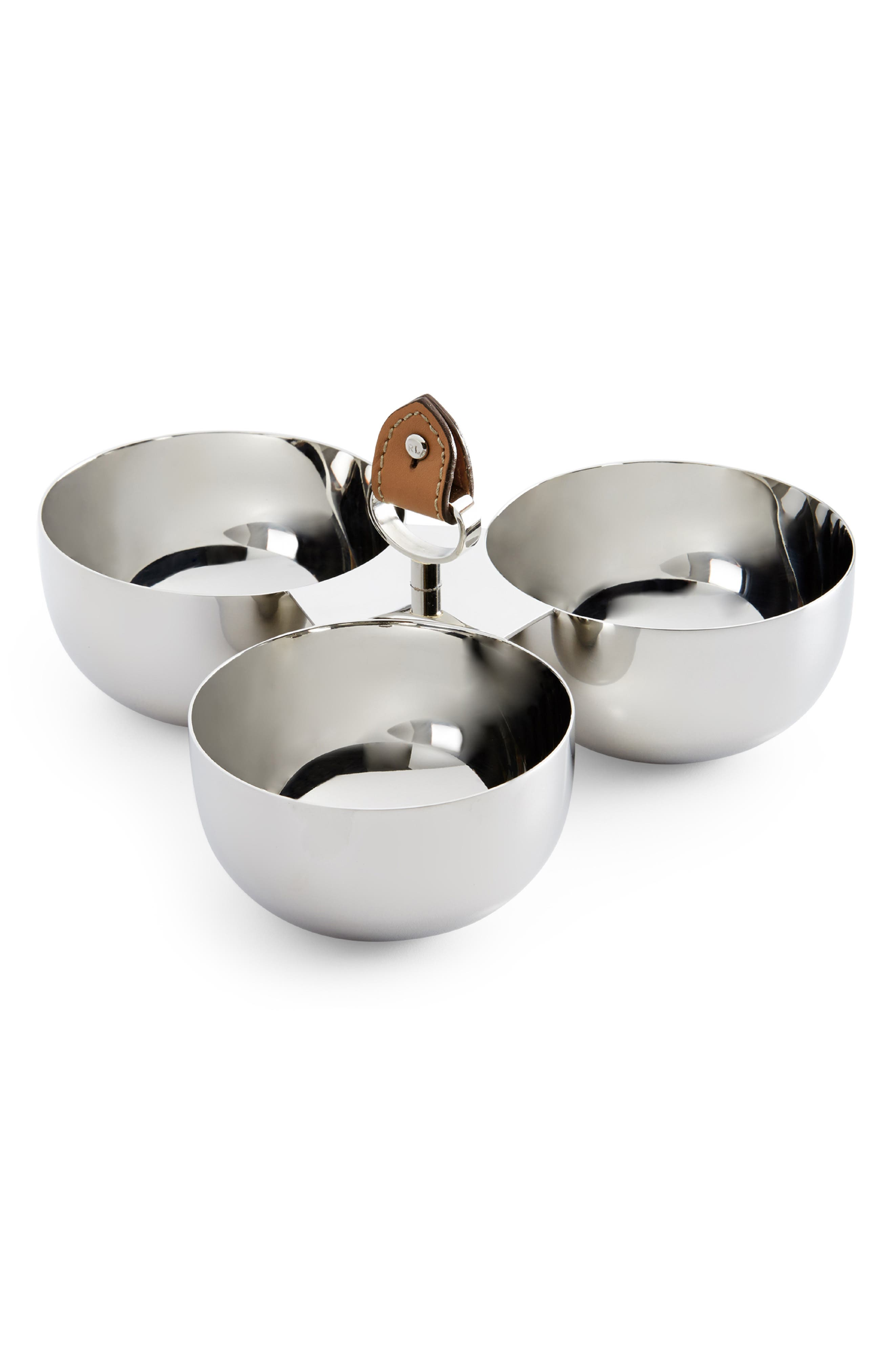 Wyatt Triple Nut Bowl,                         Main,                         color, SADDLE/ SILVER