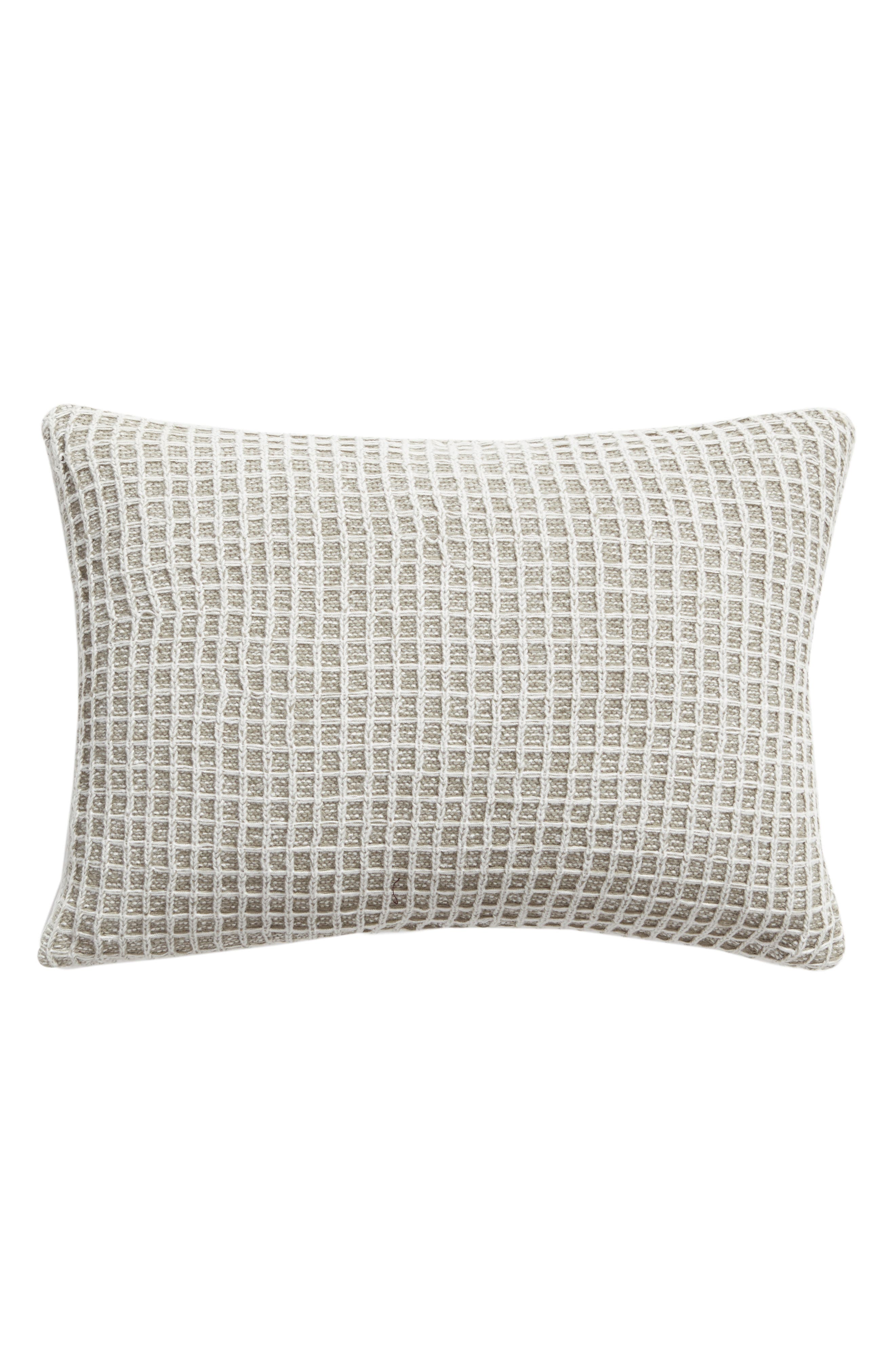 Soft Waffle Grid Accent Pillow,                             Main thumbnail 1, color,                             GREY WEATHER MULTI