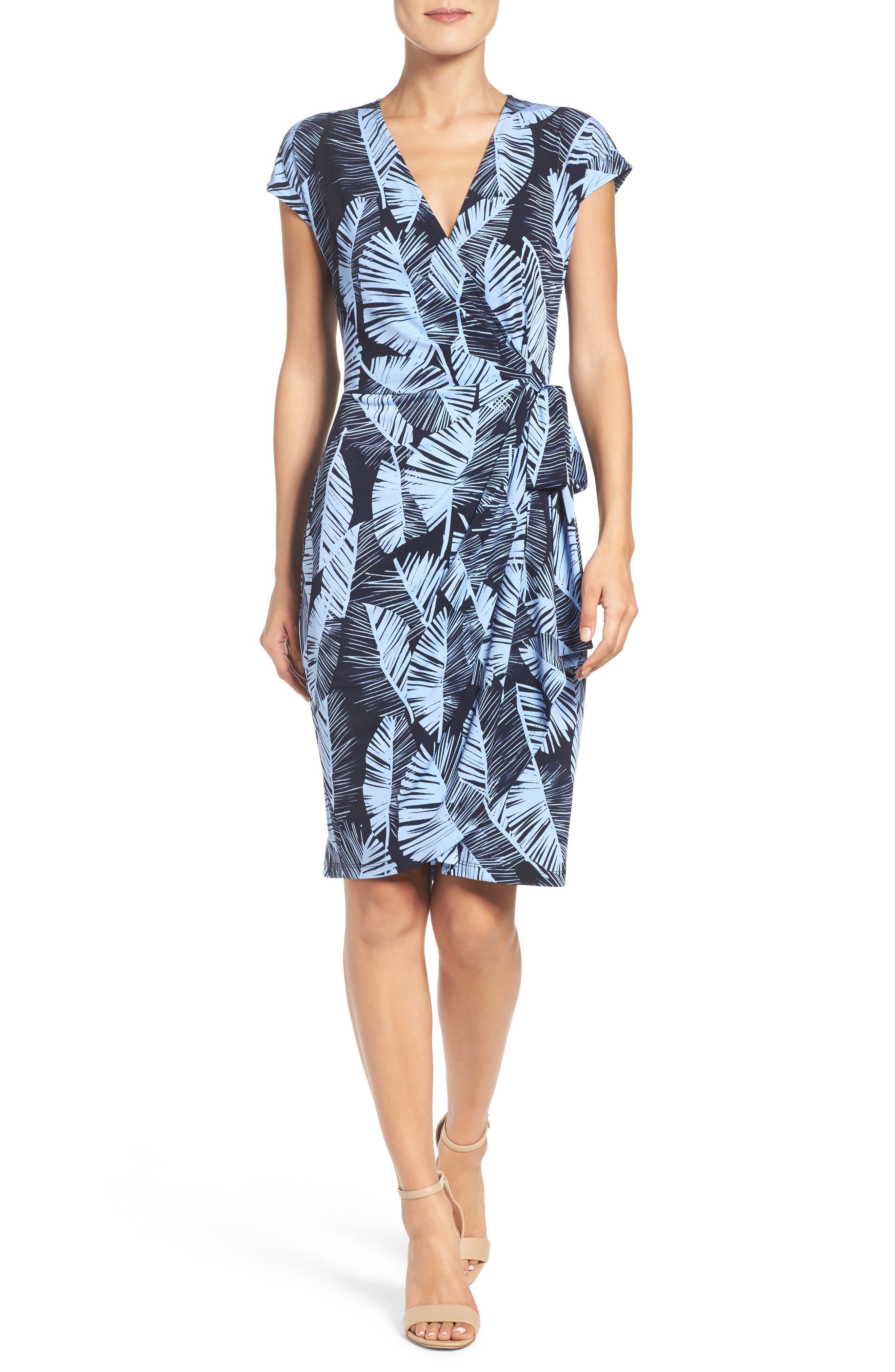 Palm Leaf Wrap Dress,                             Alternate thumbnail 5, color,                             420