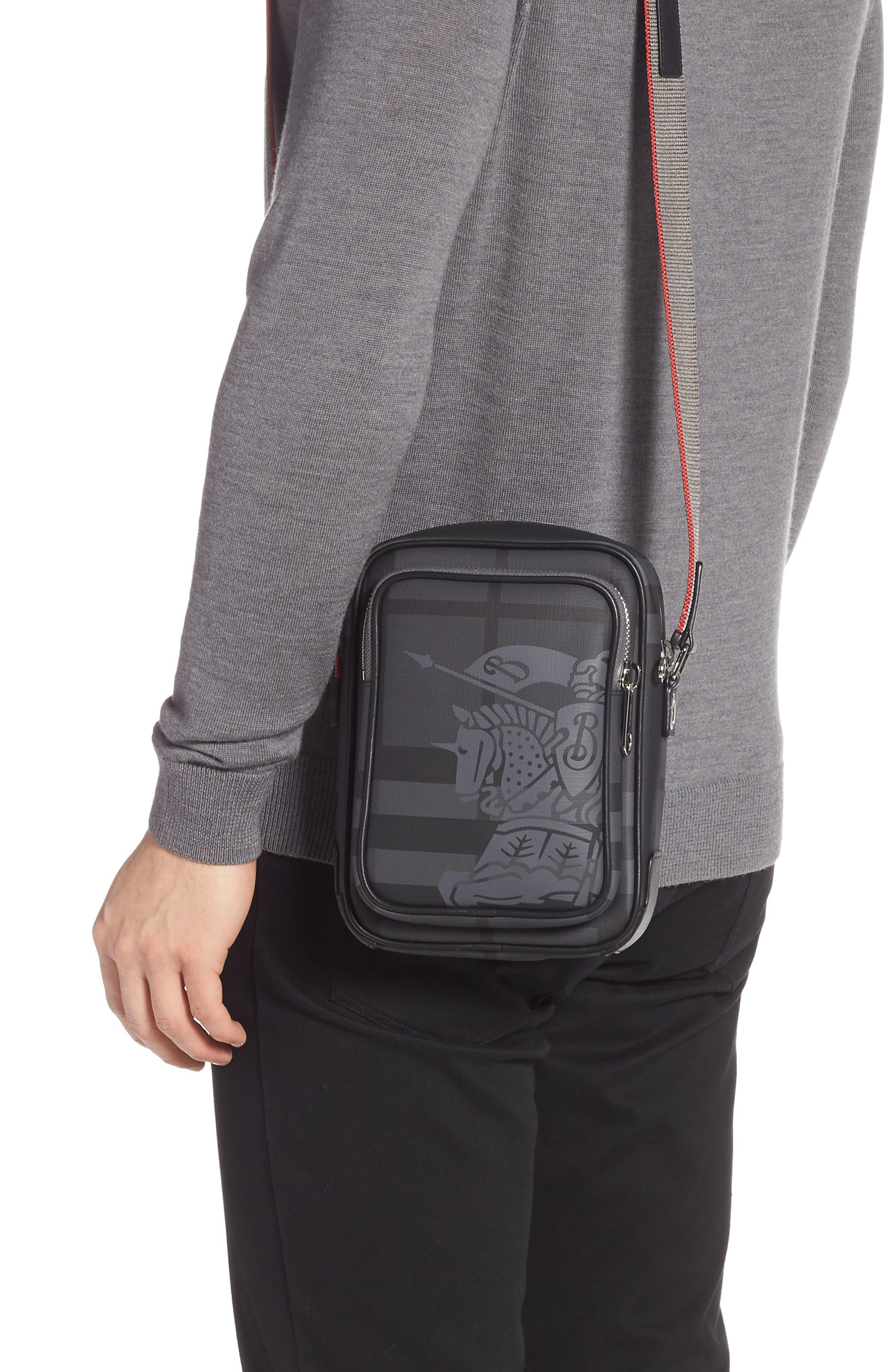 Freddie London Check Compact Messenger Bag,                             Alternate thumbnail 2, color,                             CHARCOAL BLACK