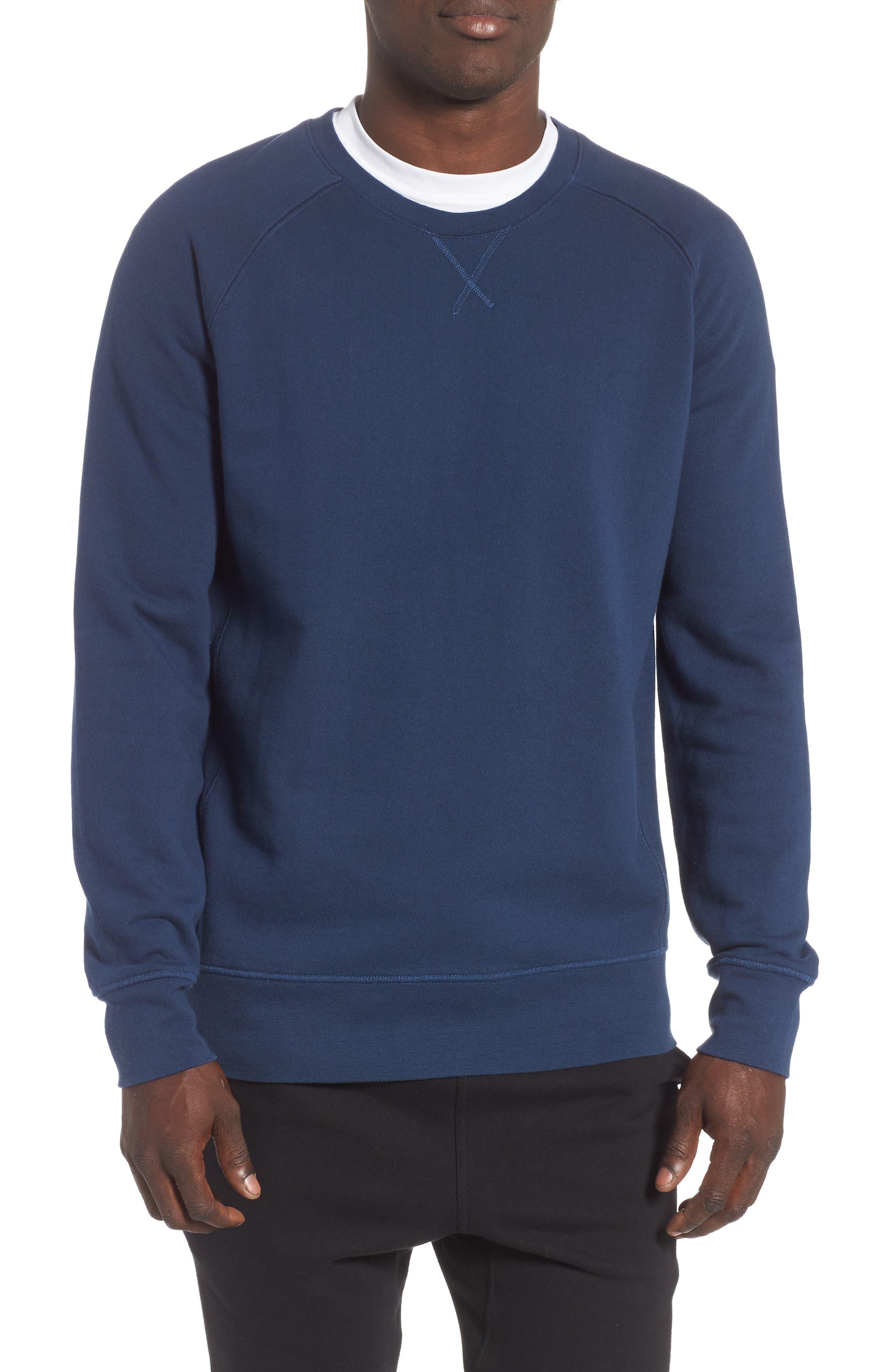 RICHER POORER Crewneck Cotton Sweatshirt in Navy