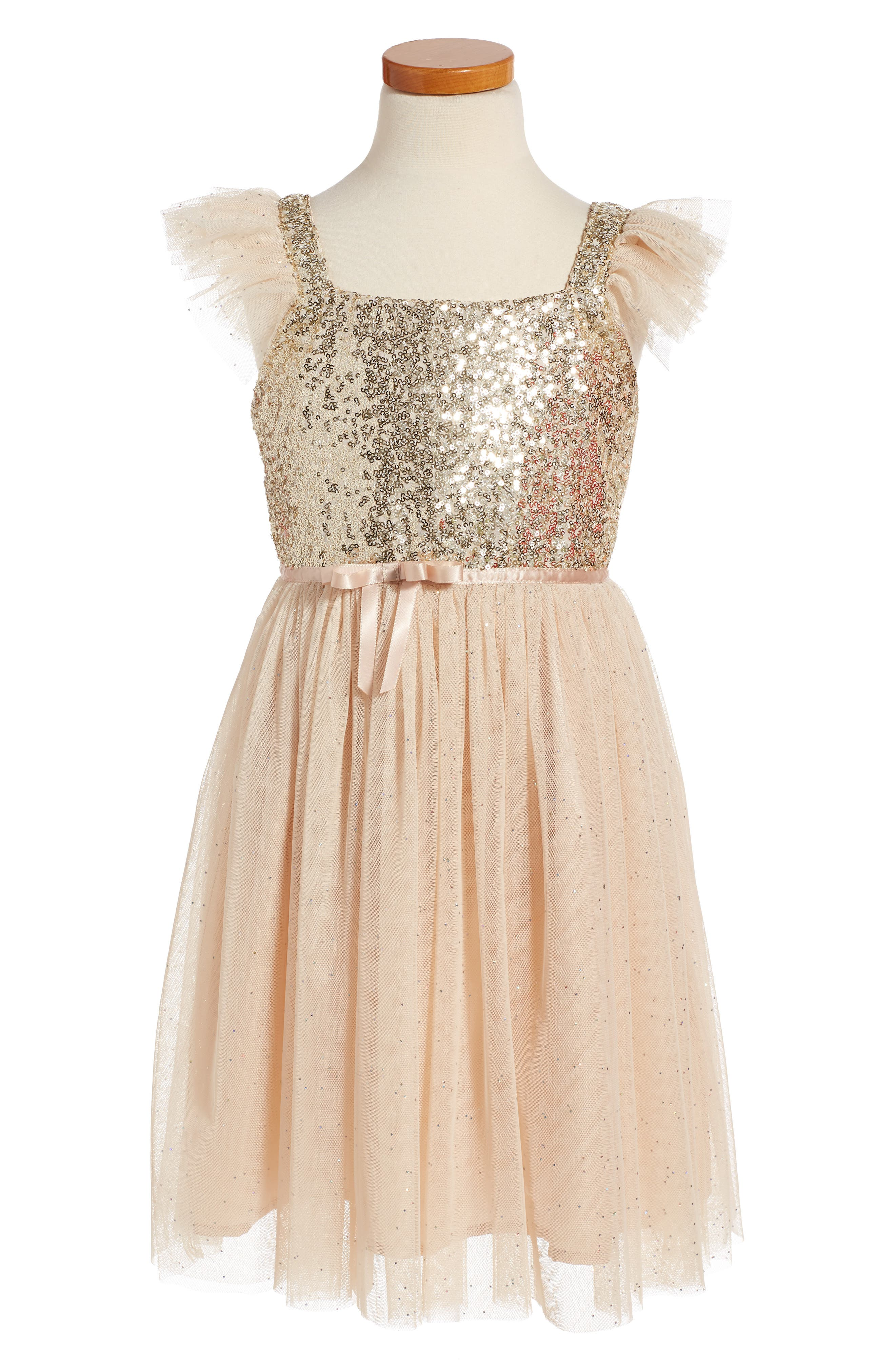 Sequin Bodice Tulle Dress,                             Alternate thumbnail 4, color,                             WHITE/ GOLD